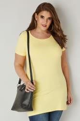 Yellow Scoop Neck Longline Jersey T-Shirt