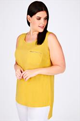 Yellow Sleeveless Dipped Hem Top With Zip Pocket Detail