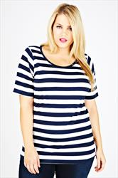 Navy & White Striped Short Sleeve Scoop Neck Basic T-shirt