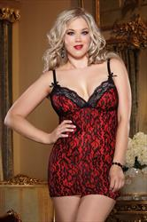 DREAMGIRL Red And Black Lace Chemise And Thong Set
