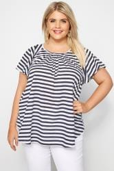 SIZE UP White & Navy Striped Angel Sleeve Jersey Top