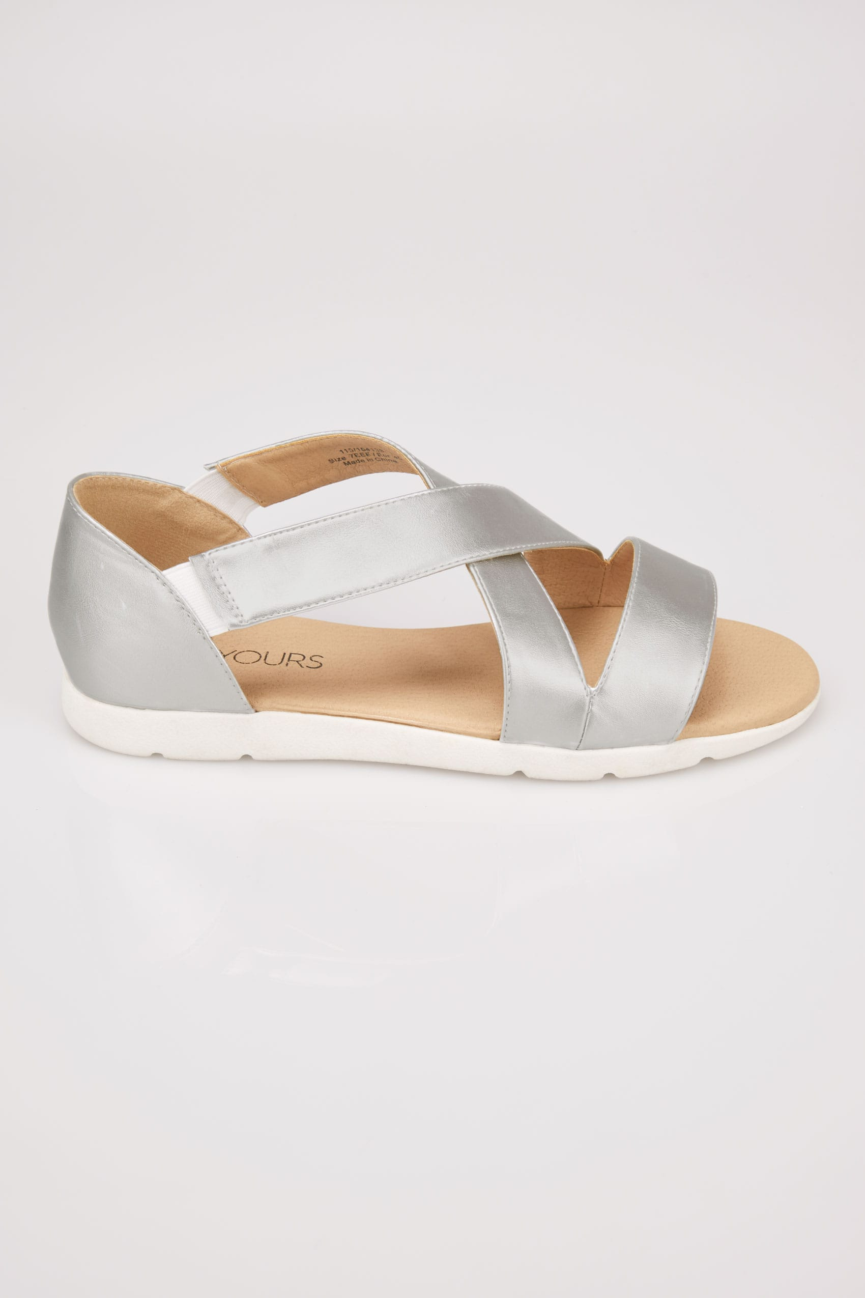 Silver Cross Over Strap Sandals In Eee Fit-3186
