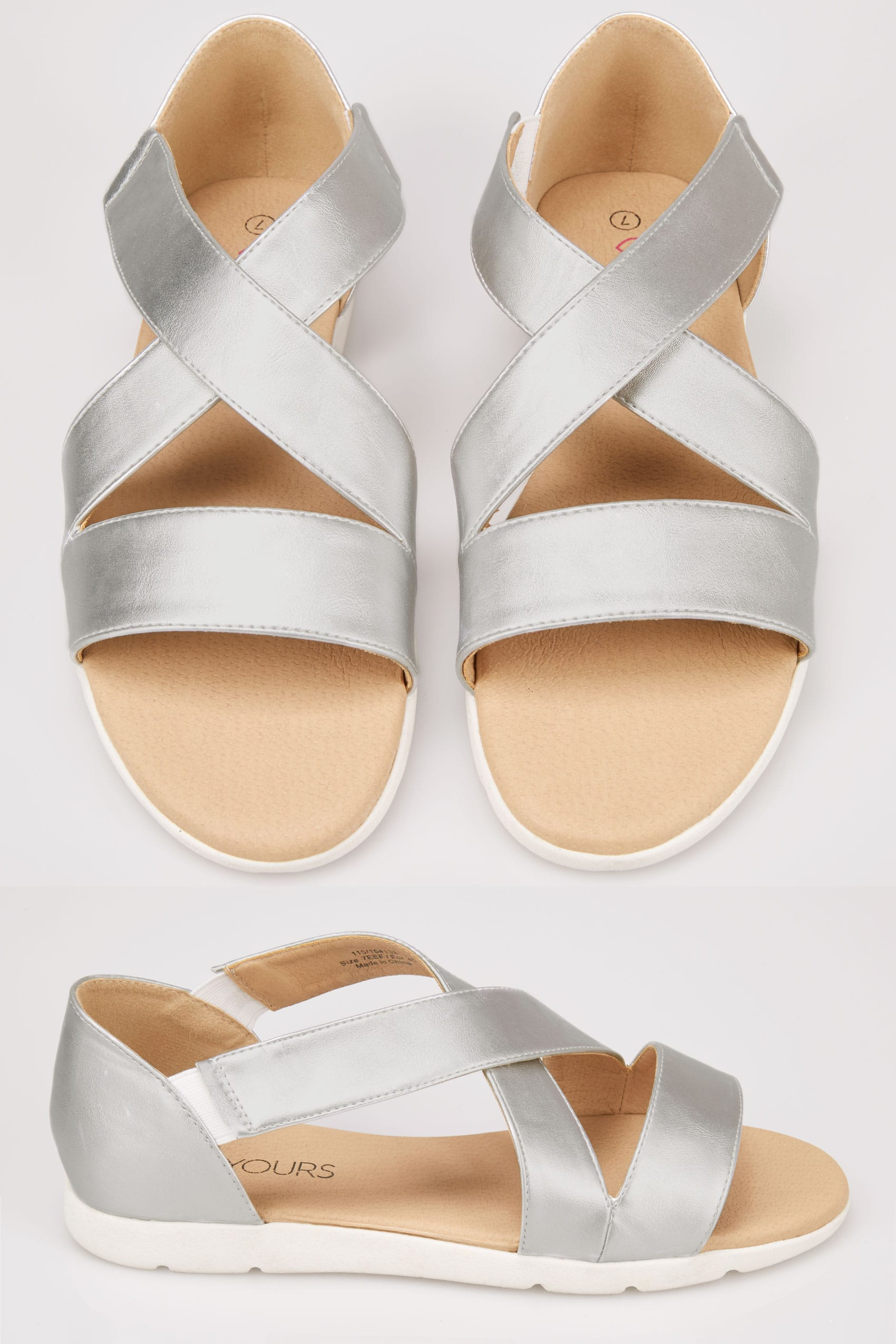 Silver Cross Over Strap Sandals In Eee Fit-2914