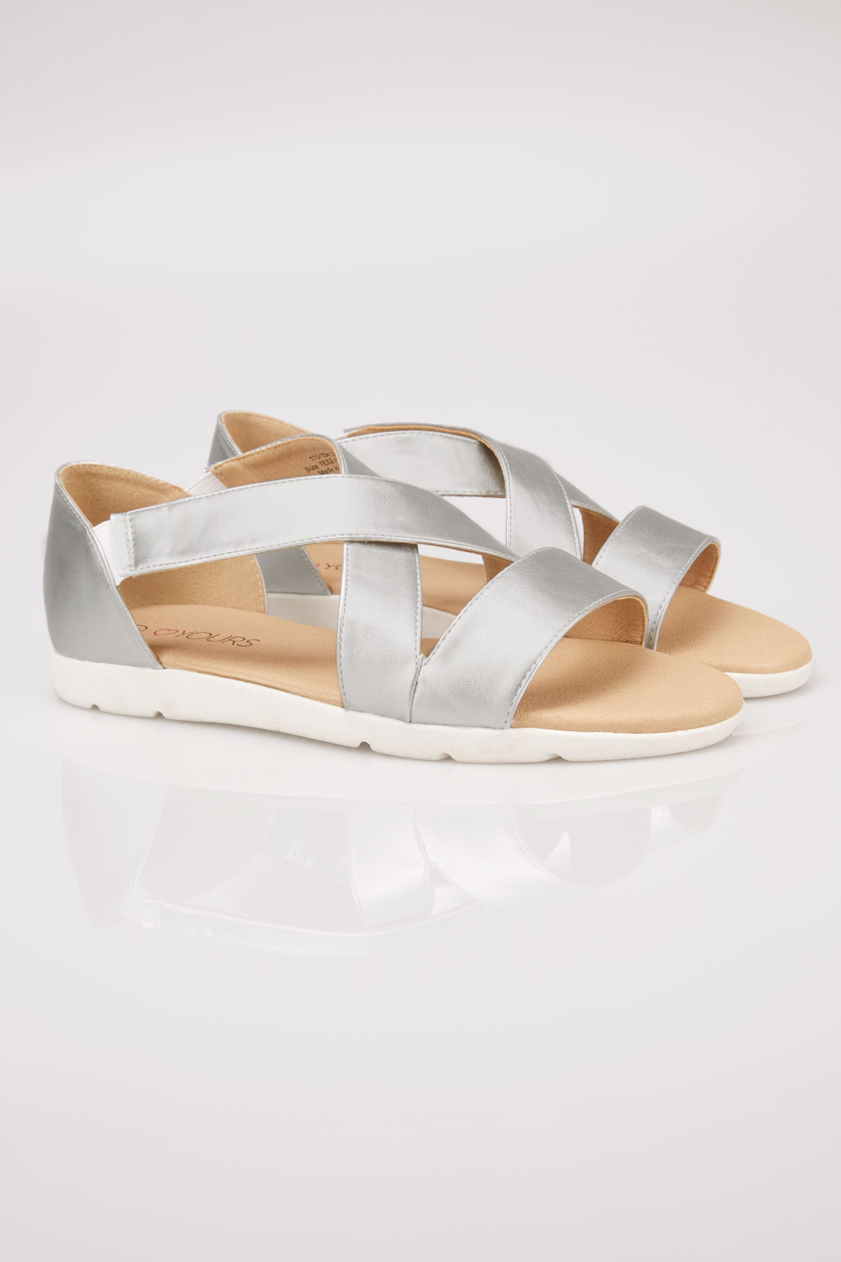 Silver Cross Over Strap Sandals In Eee Fit-8787