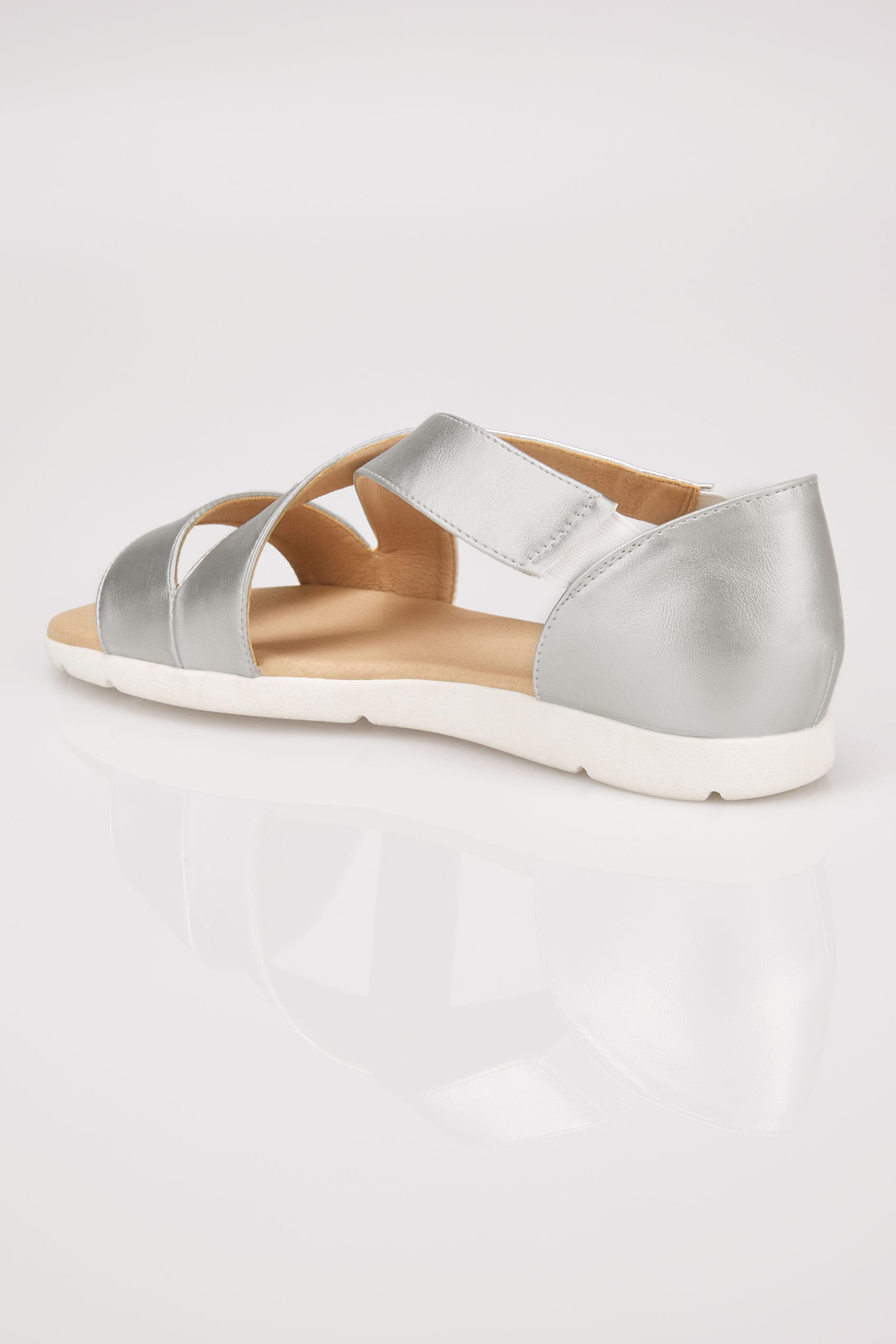 Silver Cross Over Strap Sandals In Eee Fit-5879
