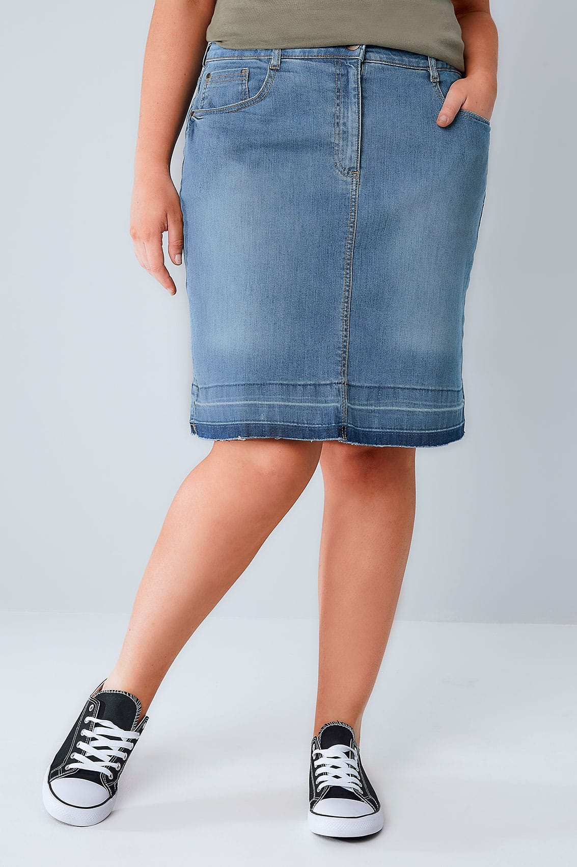 mid blue faded 5 pocket denim skirt with hem plus size