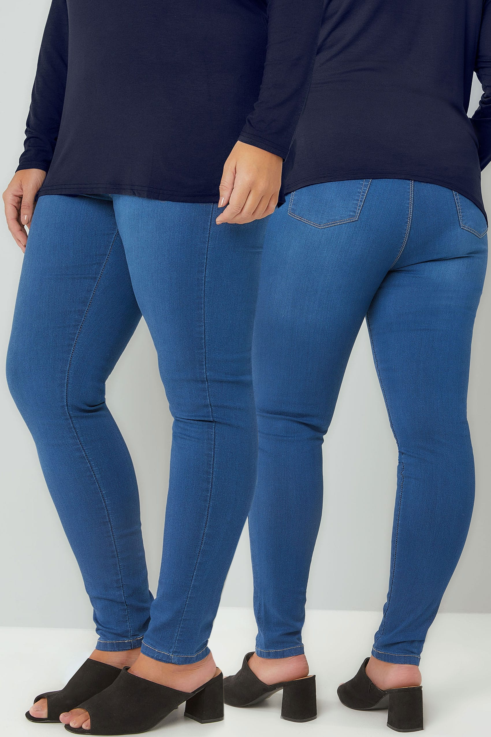 Mid Blue Pull On Super Stretch Shaper Jenny Jeggings Plus
