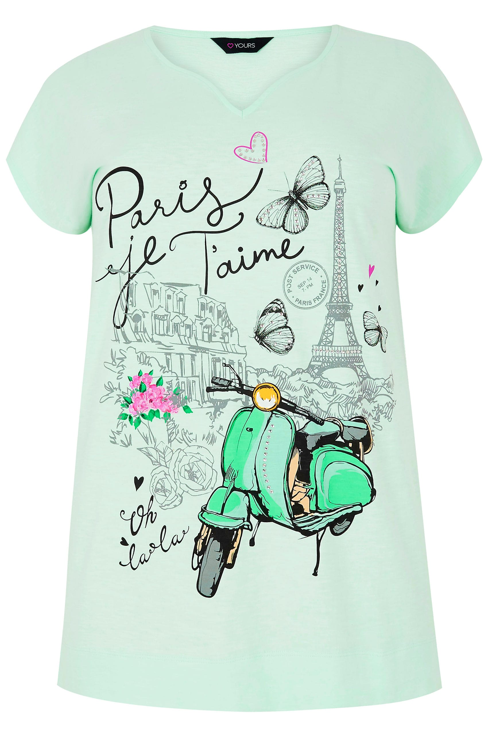 mint green 39 paris 39 slogan print t shirt with diamante embellishment plus size 16 to 36. Black Bedroom Furniture Sets. Home Design Ideas