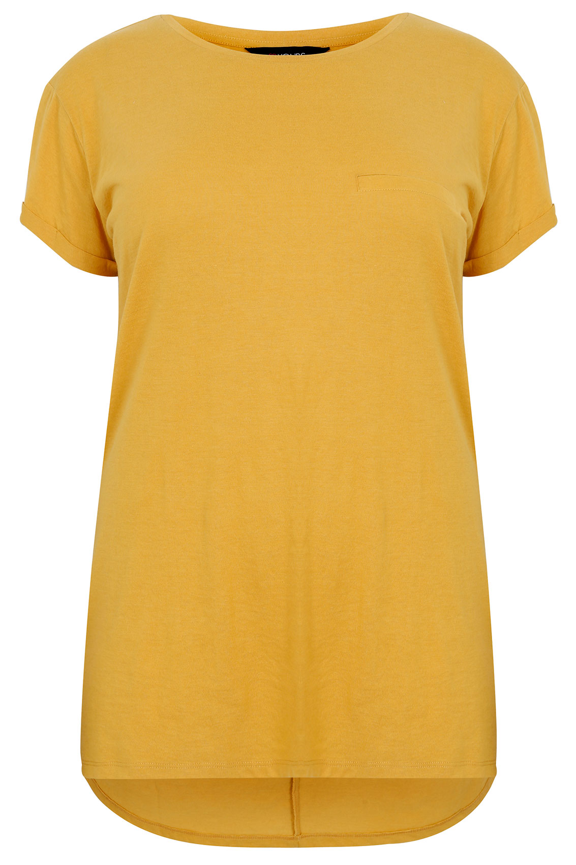mustard yellow pocket detail t shirt with dipped hem plus. Black Bedroom Furniture Sets. Home Design Ideas
