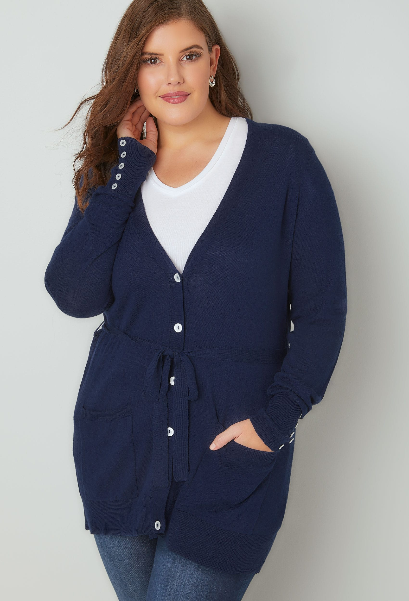 Navy Belted Boyfriend Cardigan, Plus size 16 to 36