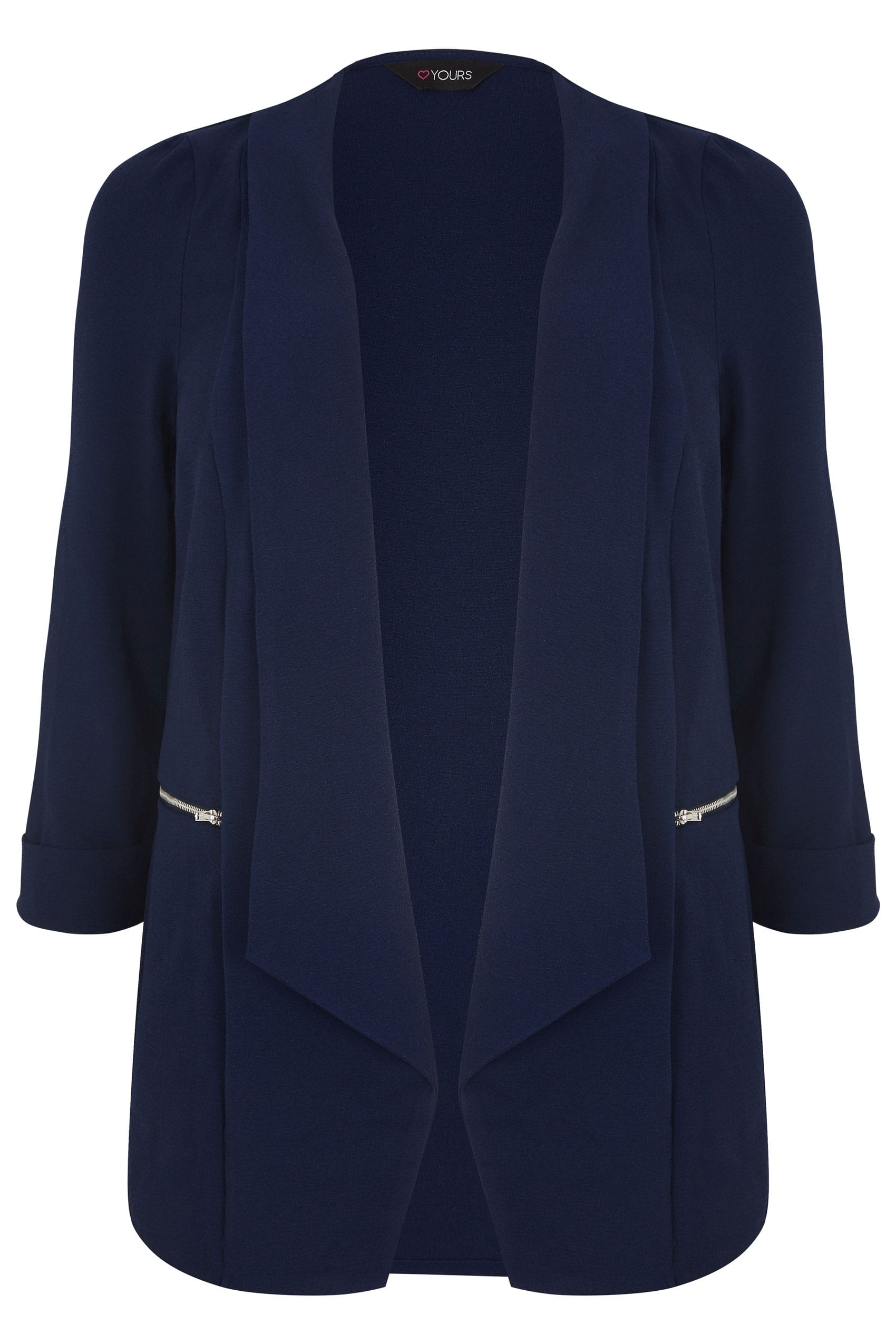 Navy Bubble Crepe Blazer Jacket With Zip Pockets, plus ...