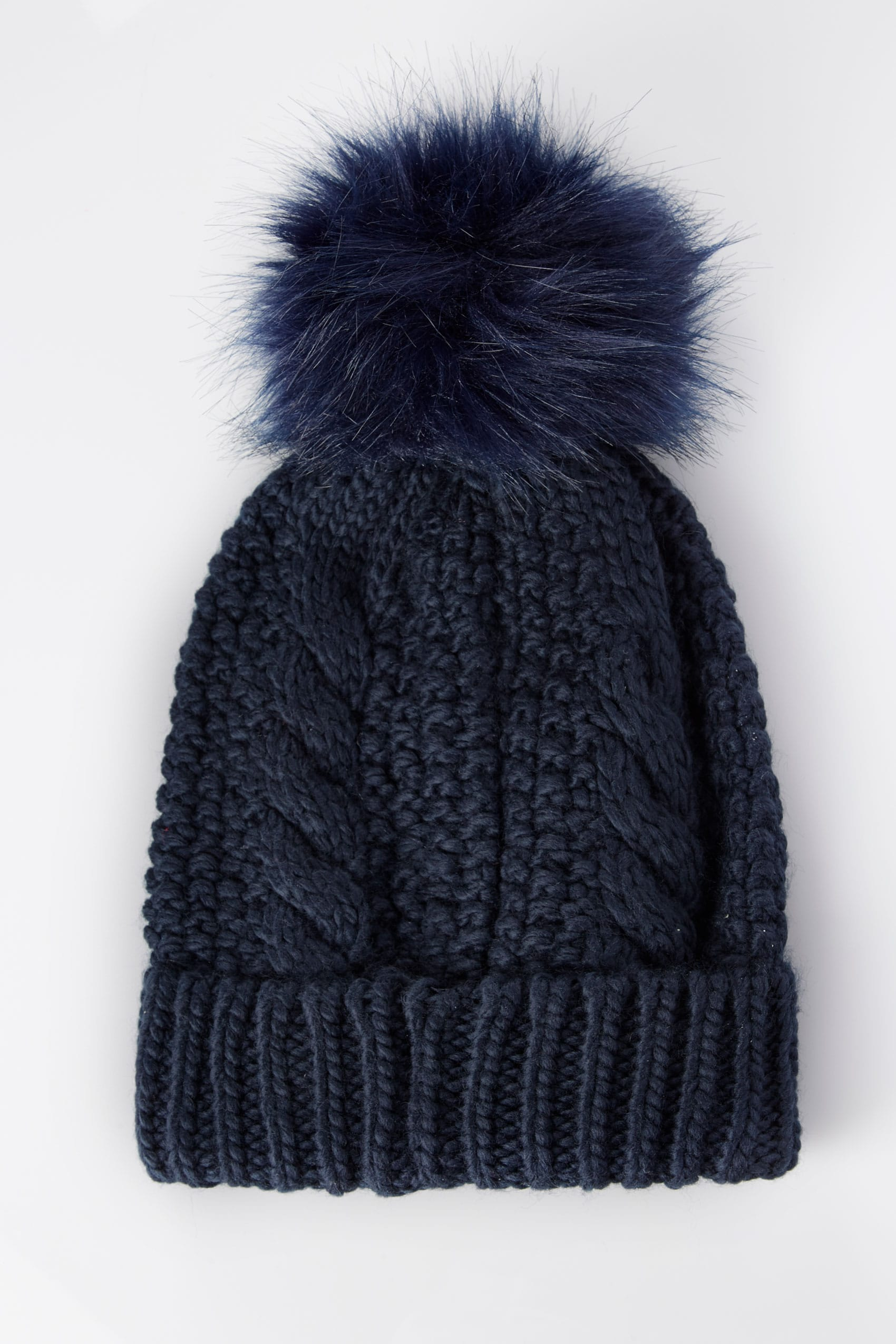 Navy Cable Knit Hat With Pom-Pom 3718b149296