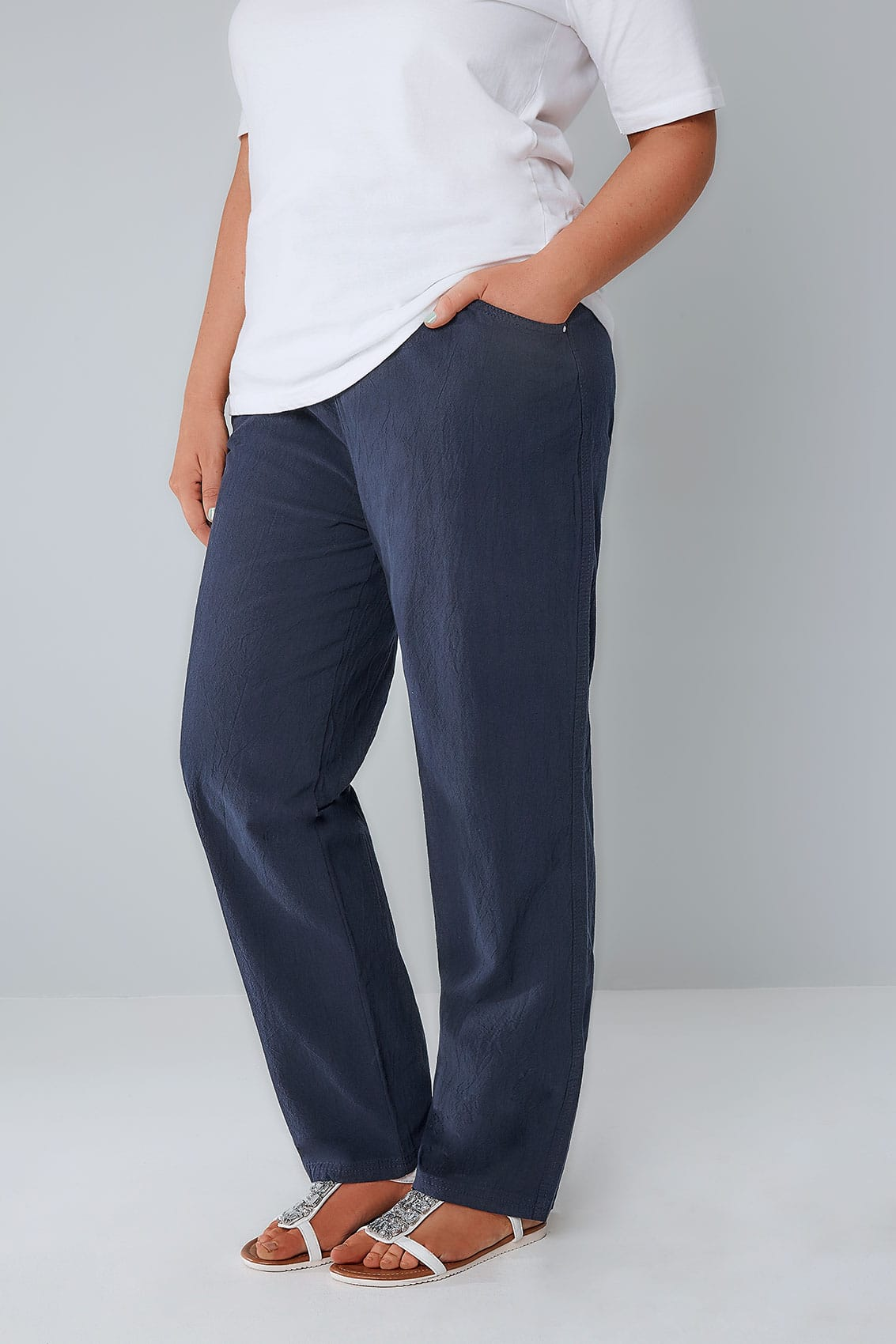 Navy Cool Cotton Pull On Wide Leg Trousers With Pockets