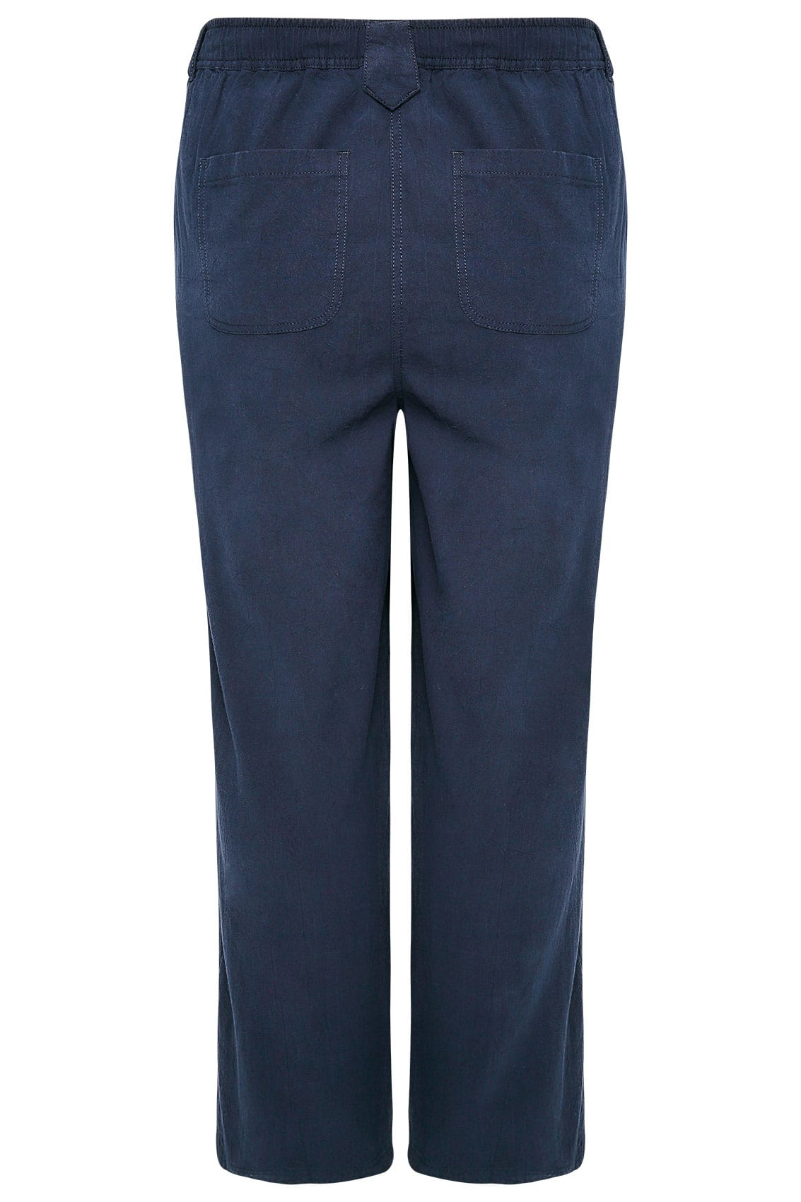 Navy Cool Cotton Pull On Wide Leg Trousers plus size 16 to 36
