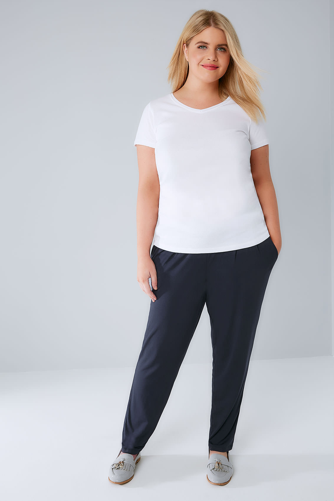 Navy Double Pleat Jersey Harem Trousers, Plus size 16 to 36