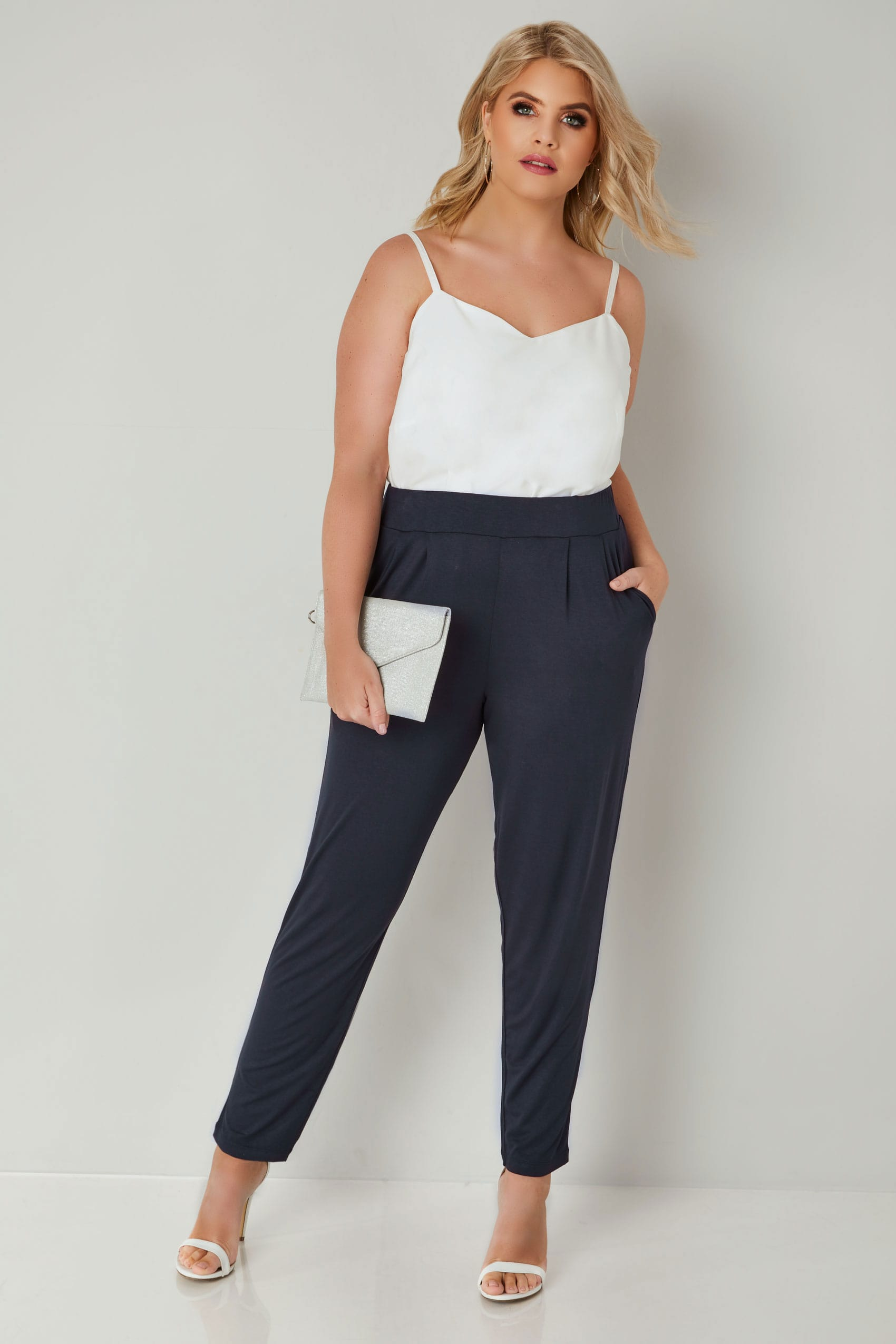 Rooms: Navy Double Pleat Jersey Harem Trousers, Plus Size 16 To 36