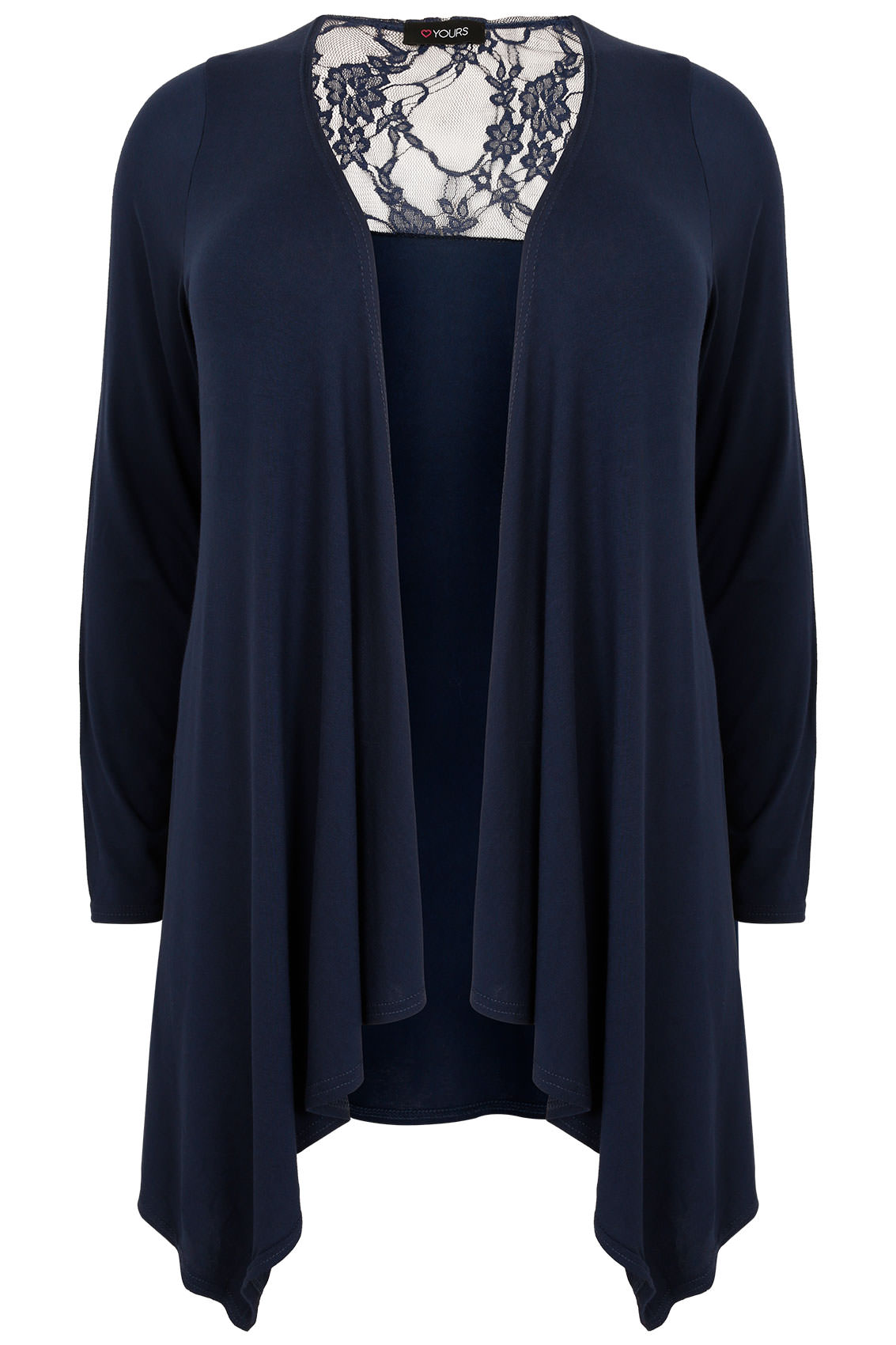 Navy Edge To Edge Waterfall Jersey Cardigan With Lace Panel Plus ...