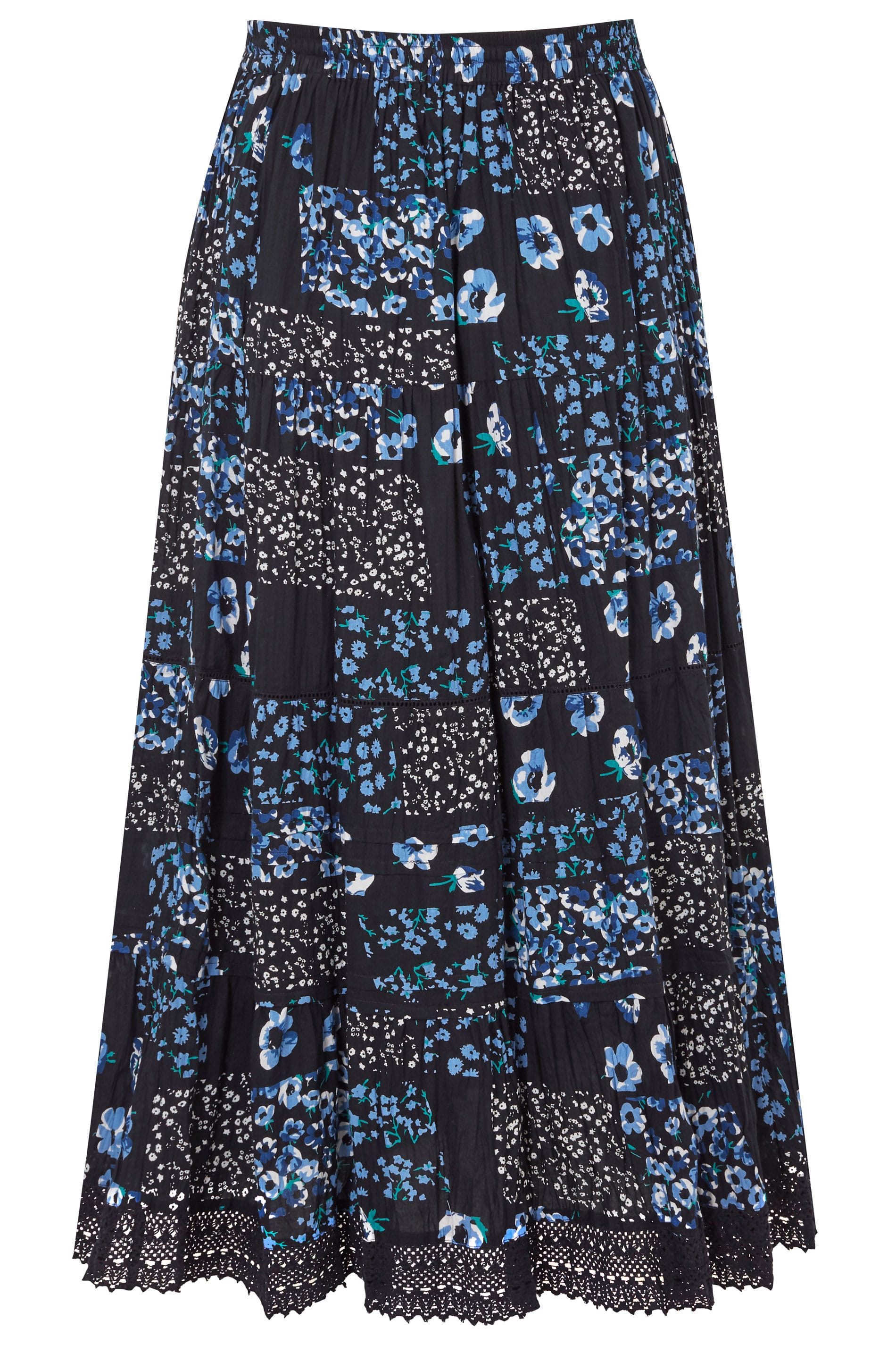 7572bebb0 Navy Floral Print Tiered Maxi Skirt With Lace Trim Hem, plus size 16 ...