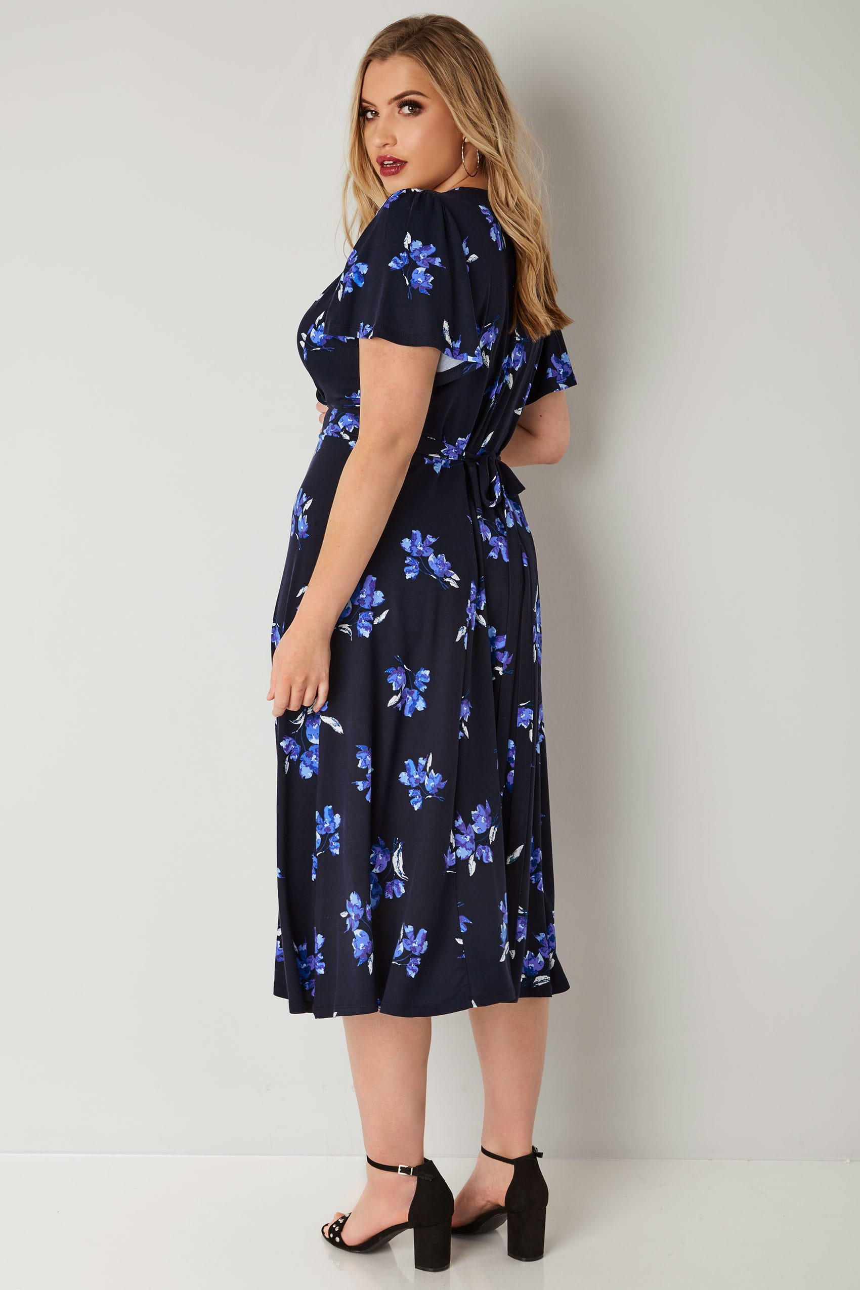 Rooms: Navy Floral Wrap Over Jersey Midi Dress With Waist Tie