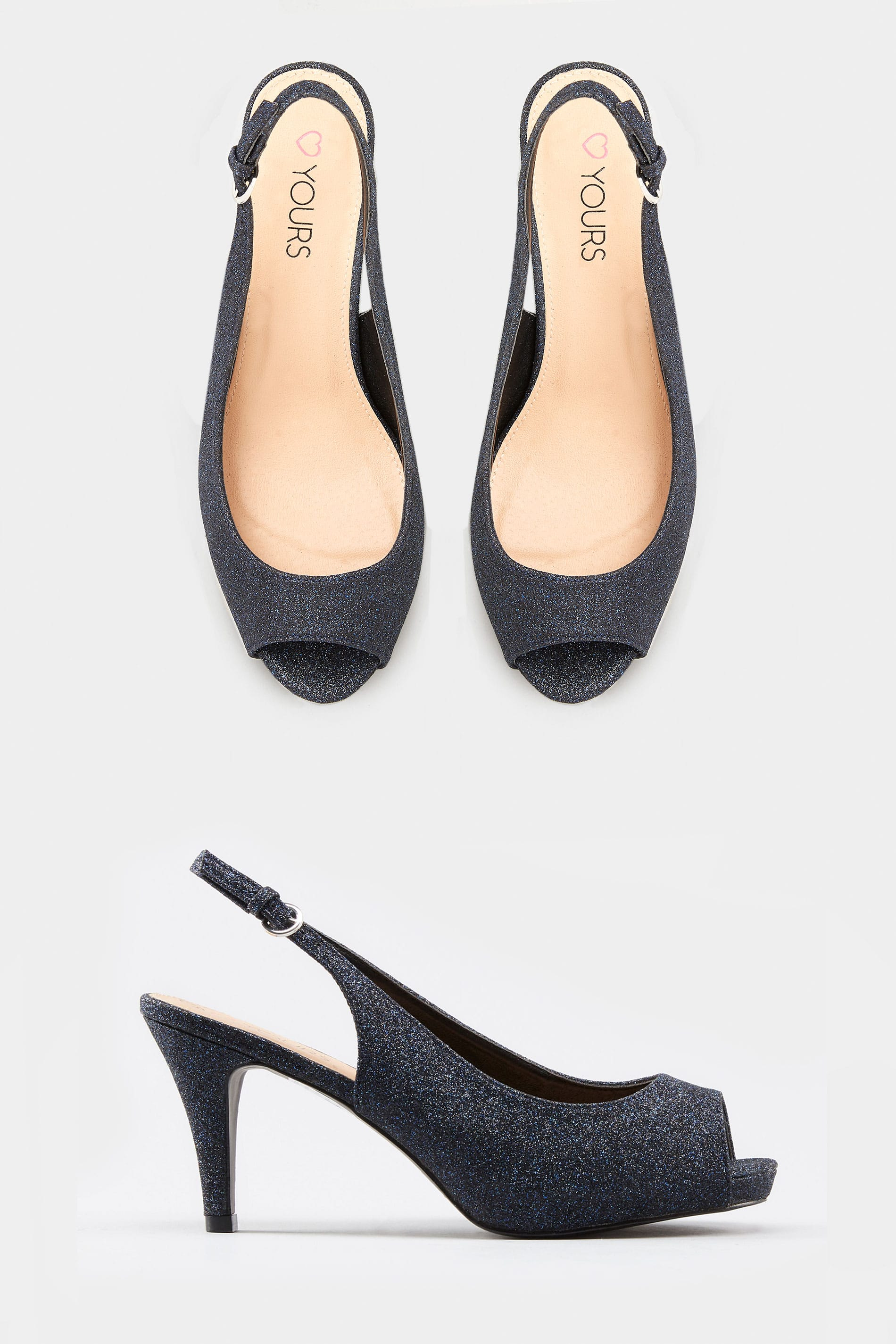 cab1f482df Loading. Hover over the images above to enlarge. Navy Glittery Peep Toe  Sling Back Heels. Navy Glittery Peep Toe Sling Back Heels
