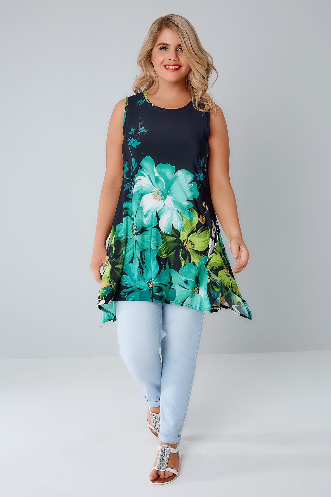 navy green floral slinky stretch sleeveless top with hanky hem plus size 16 to 36. Black Bedroom Furniture Sets. Home Design Ideas