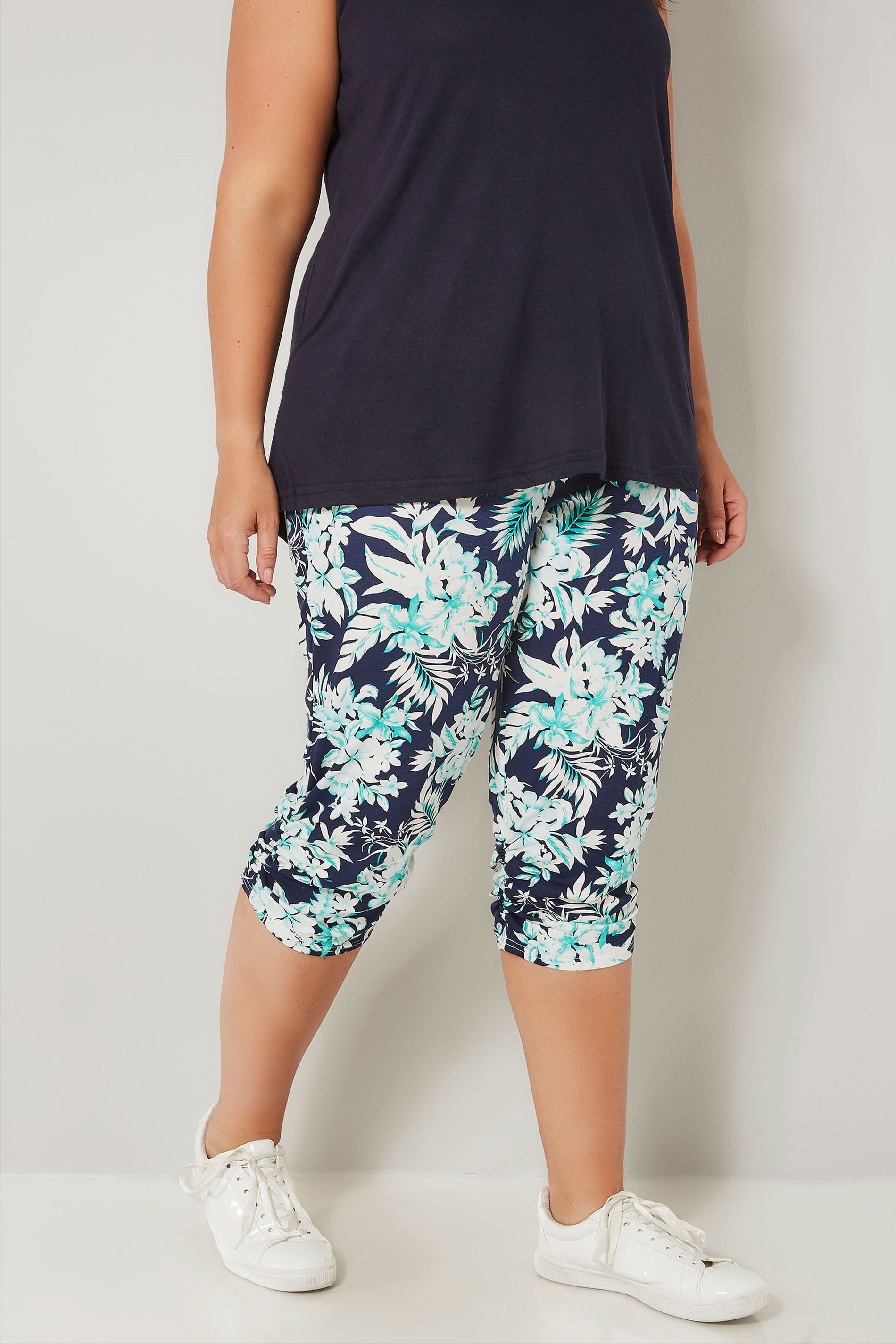 Rooms: Navy & Green Tropical Cropped Harem Trousers, Plus Size 16