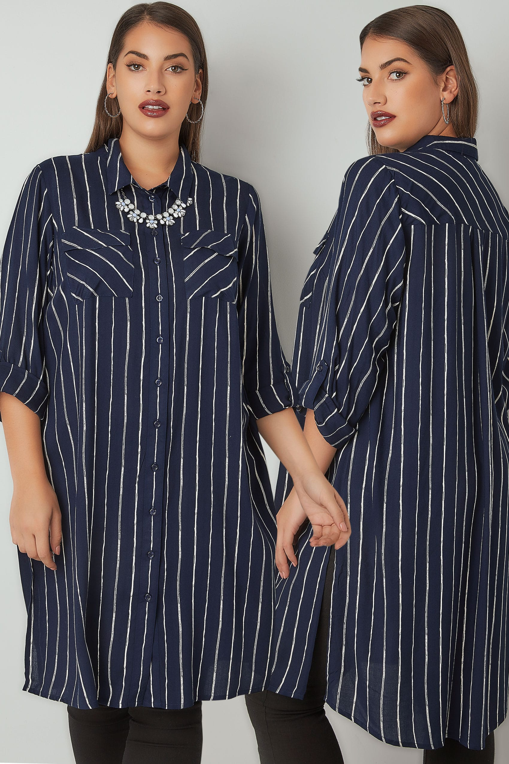 navy ivory stripe longline shirt with chest pockets. Black Bedroom Furniture Sets. Home Design Ideas