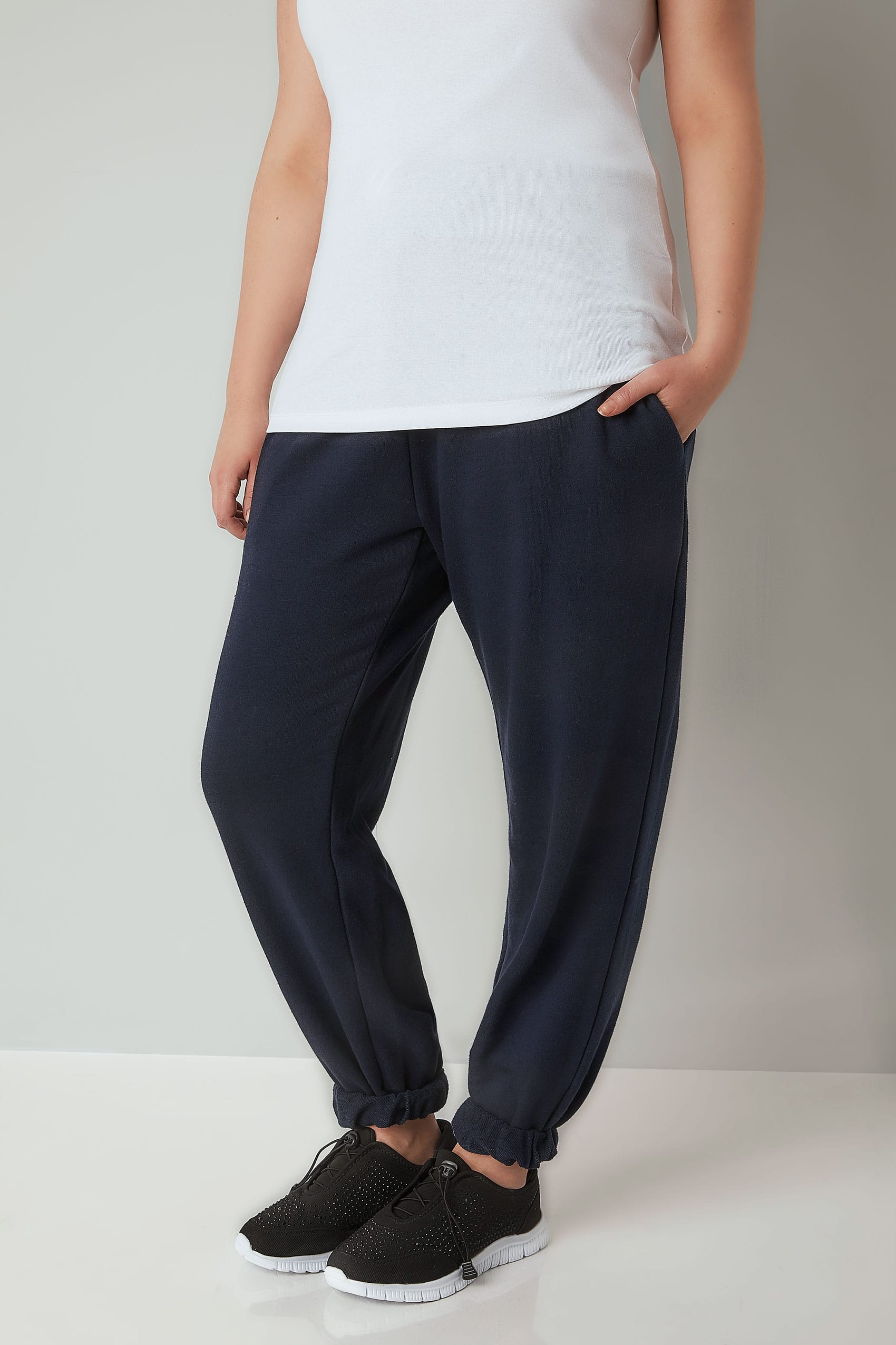 8e92ae9b33a Plus Size Joggers Navy Joggers With Elasticated Cuffs