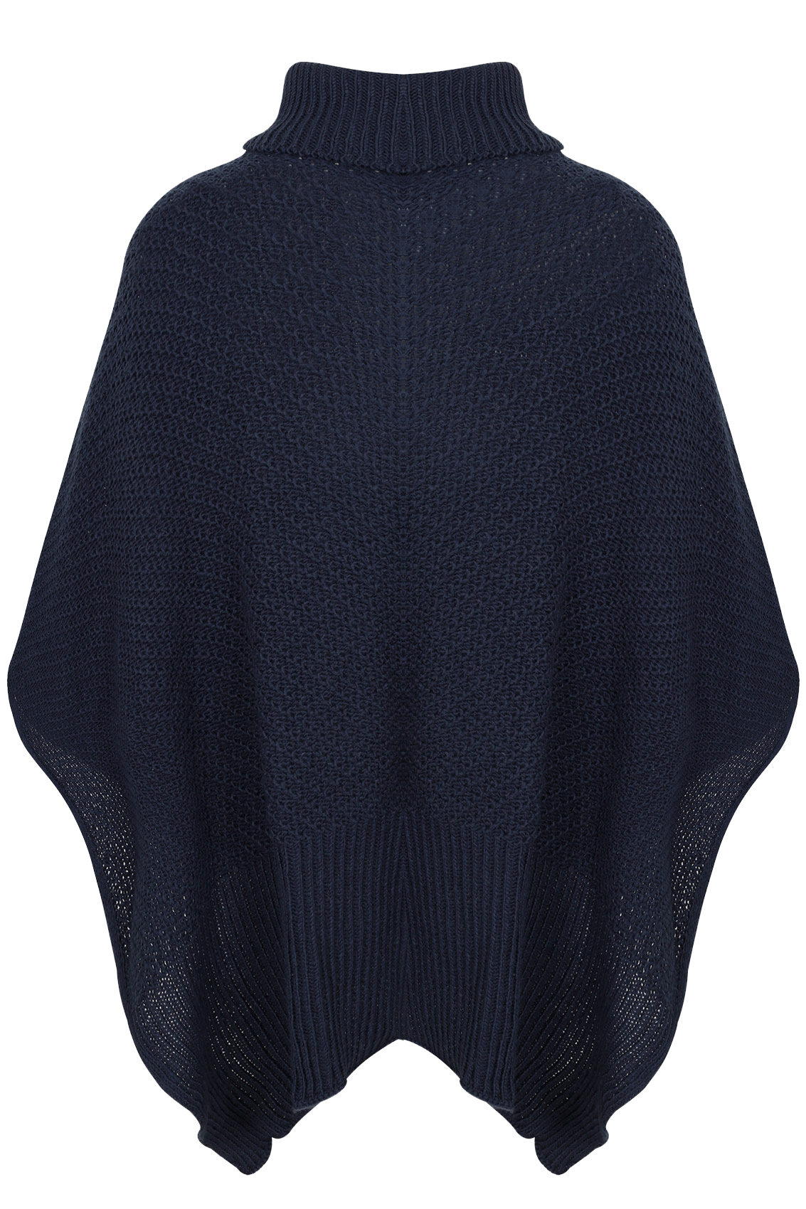 Navy Knitted Cowl Neck Poncho