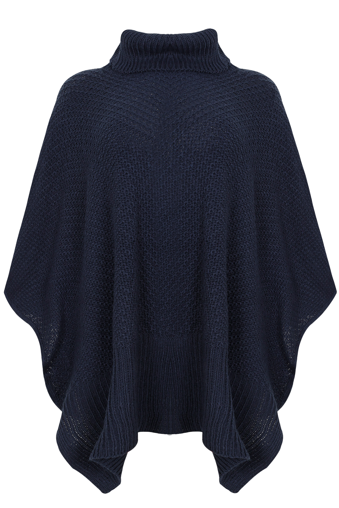 Cowl Neck Poncho Knitting Pattern : Navy Knitted Cowl Neck Poncho