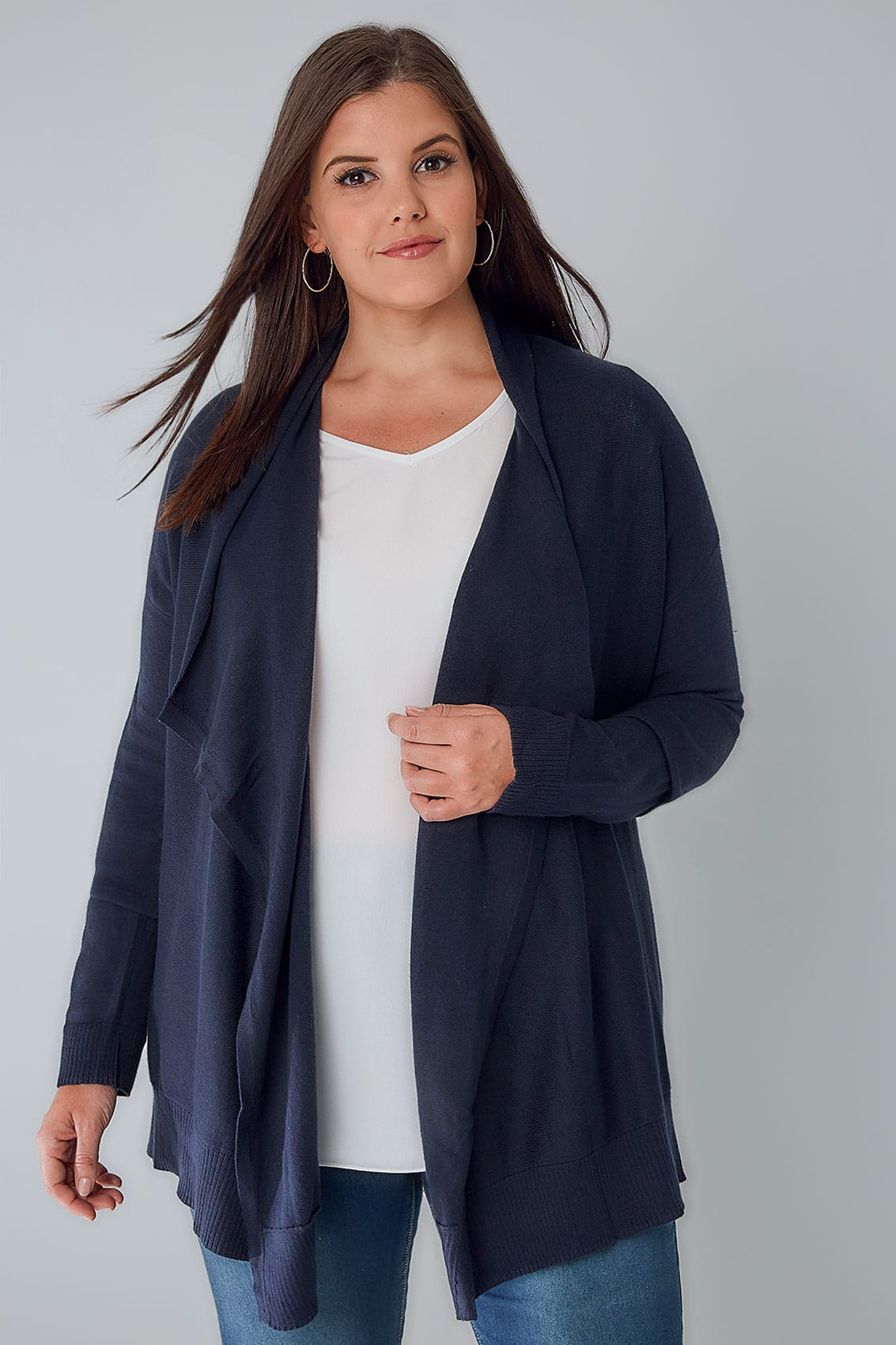 Navy Knitted Waterfall Cardigan, Plus size 16 to 36