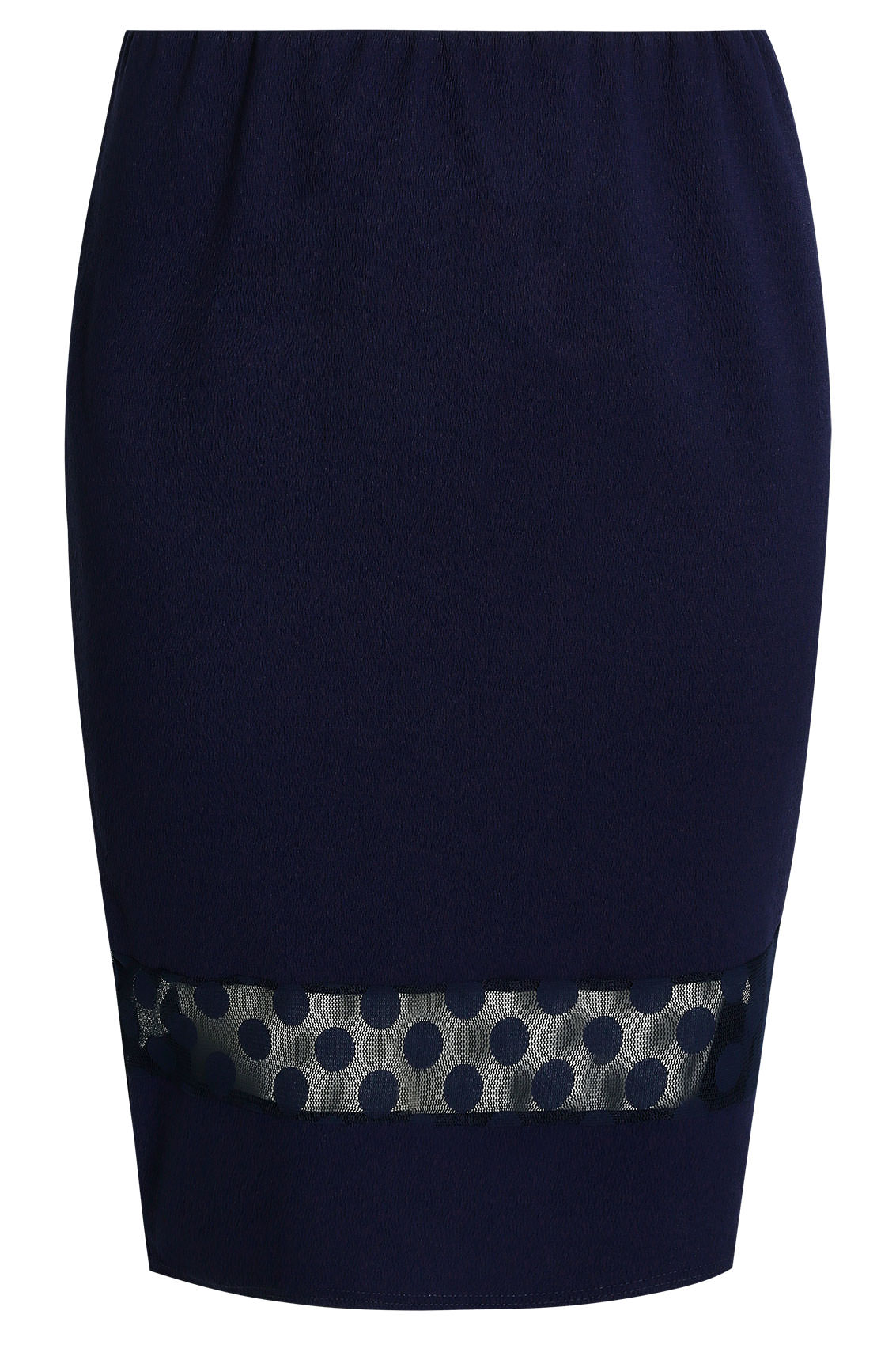 navy liverpool pencil skirt with polka dot mesh insert