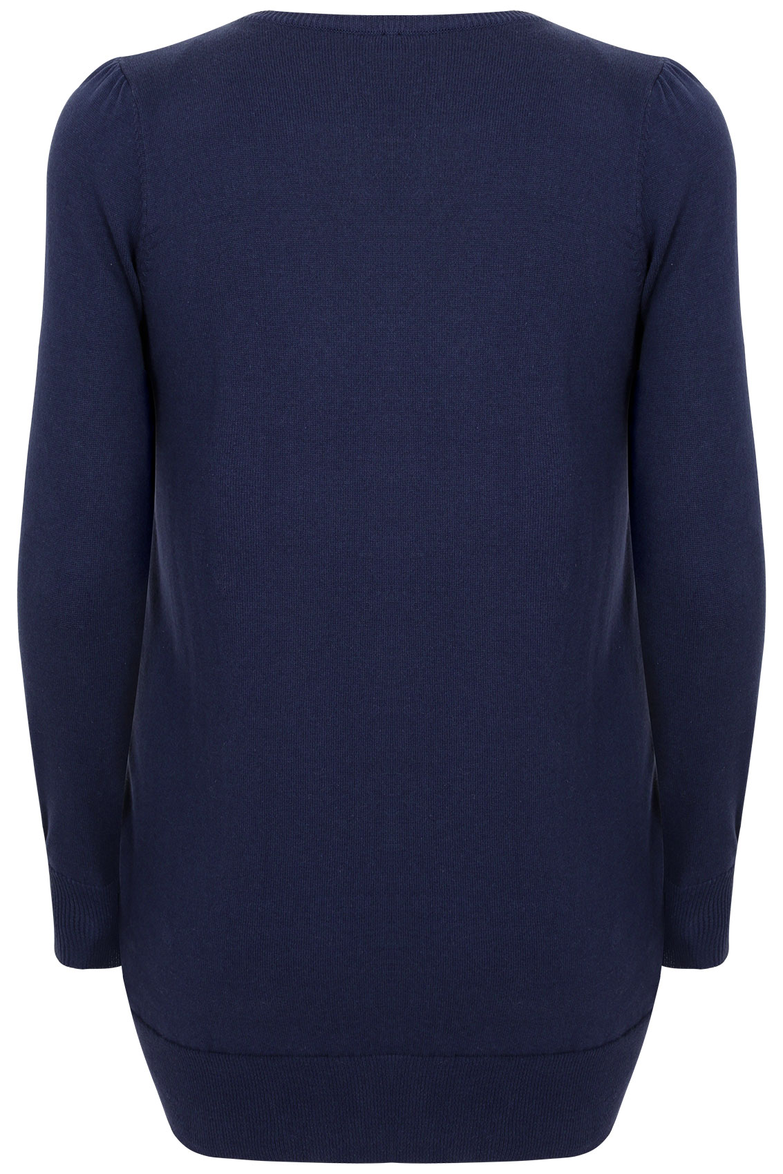 Our cosy navy funnel neck knitted jumper is a winter essential for your wardrobe. 72% Acrylic, 26% Polyester, 2% Elastane; Machine washable; Sizes: 4, 6, 8, 10, 12, 14,