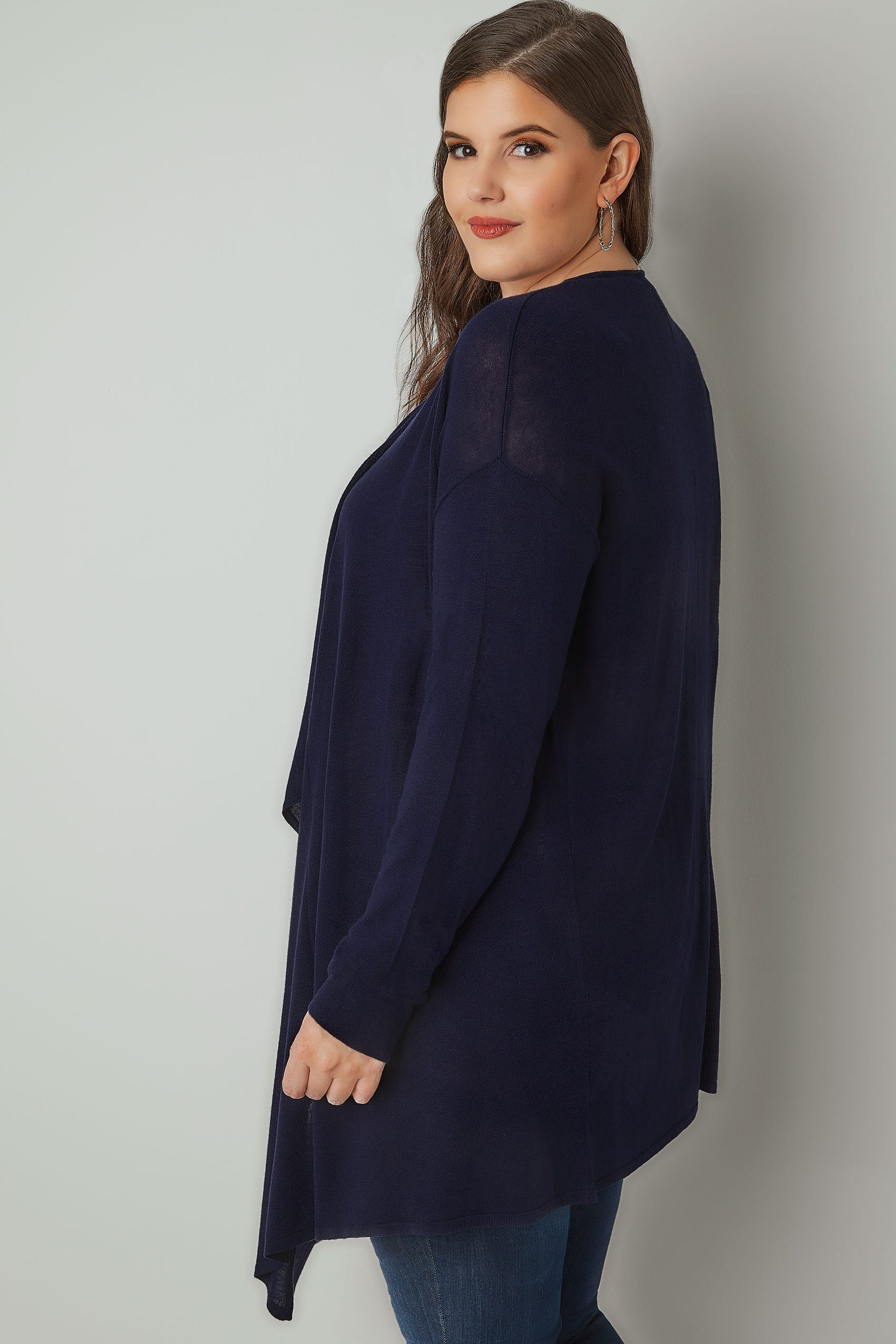 Navy Longline Waterfall Cardigan, plus size 16 to 36