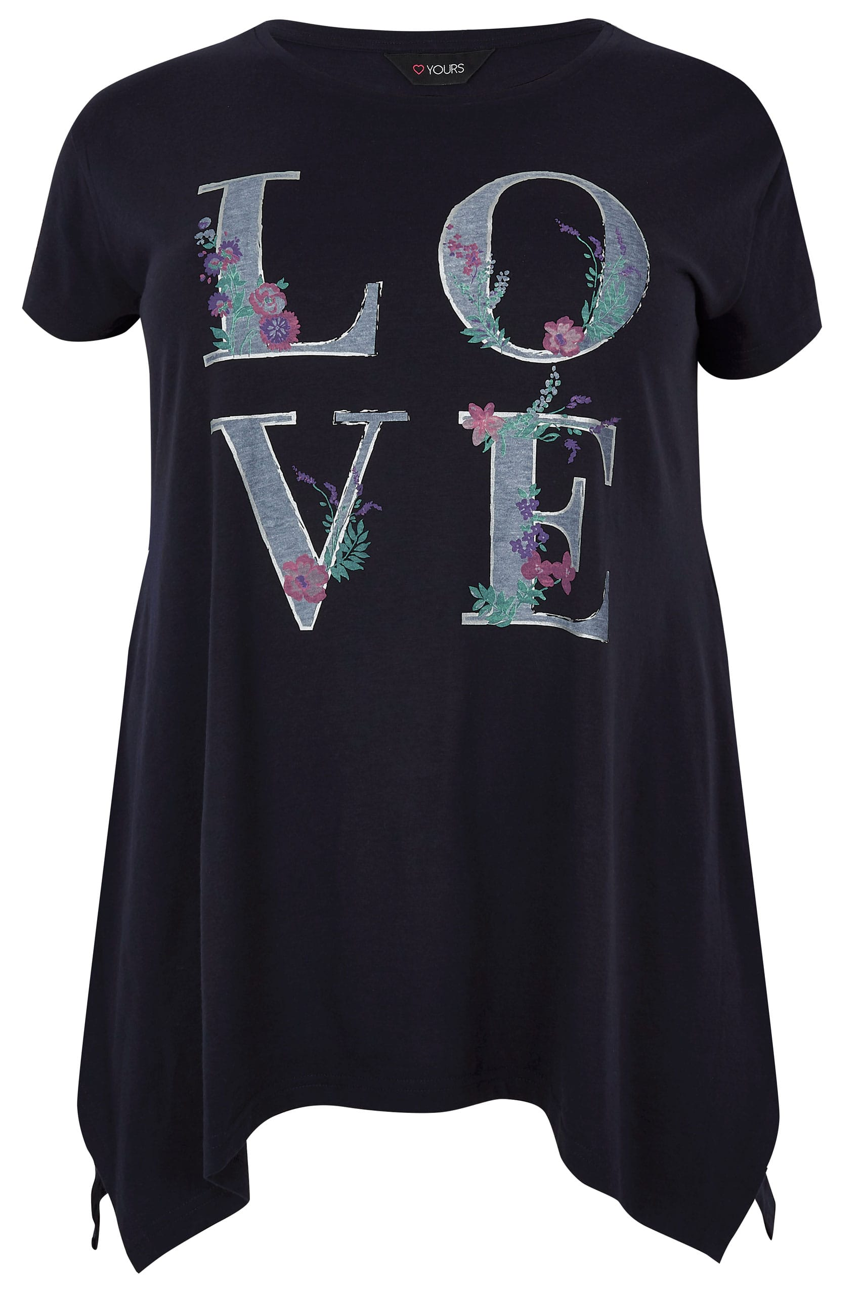 navy 39 love 39 slogan print t shirt with hanky hem plus size 16 to 36. Black Bedroom Furniture Sets. Home Design Ideas