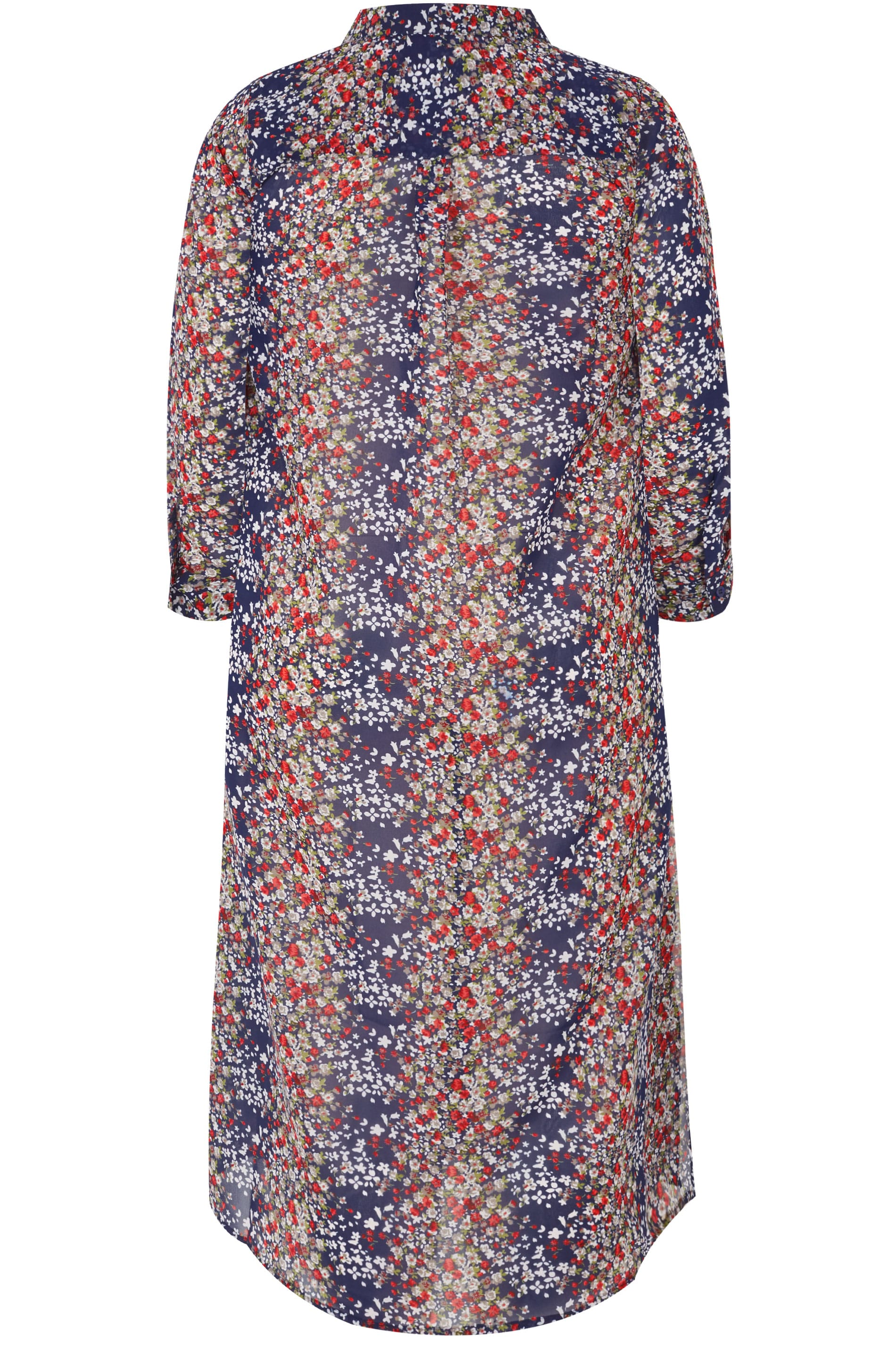 Navy & Multi Floral Print Maxi Shirt, plus size 16 to 36