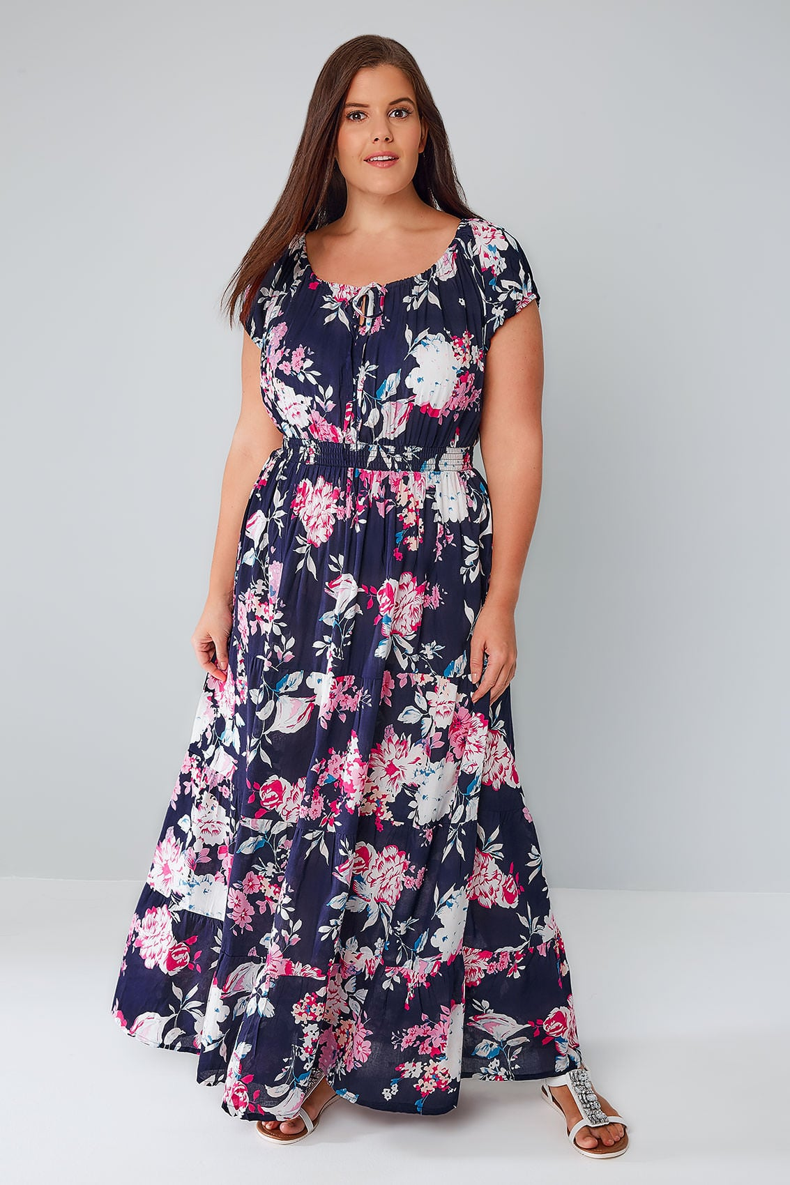 navy & multi floral print sequin gypsy maxi dress, plus size 16 to 36