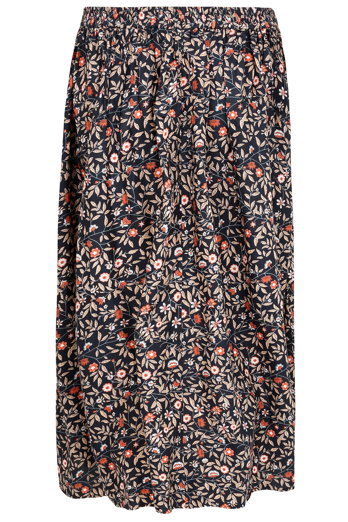 navy multi floral print vintage maxi skirt with button. Black Bedroom Furniture Sets. Home Design Ideas