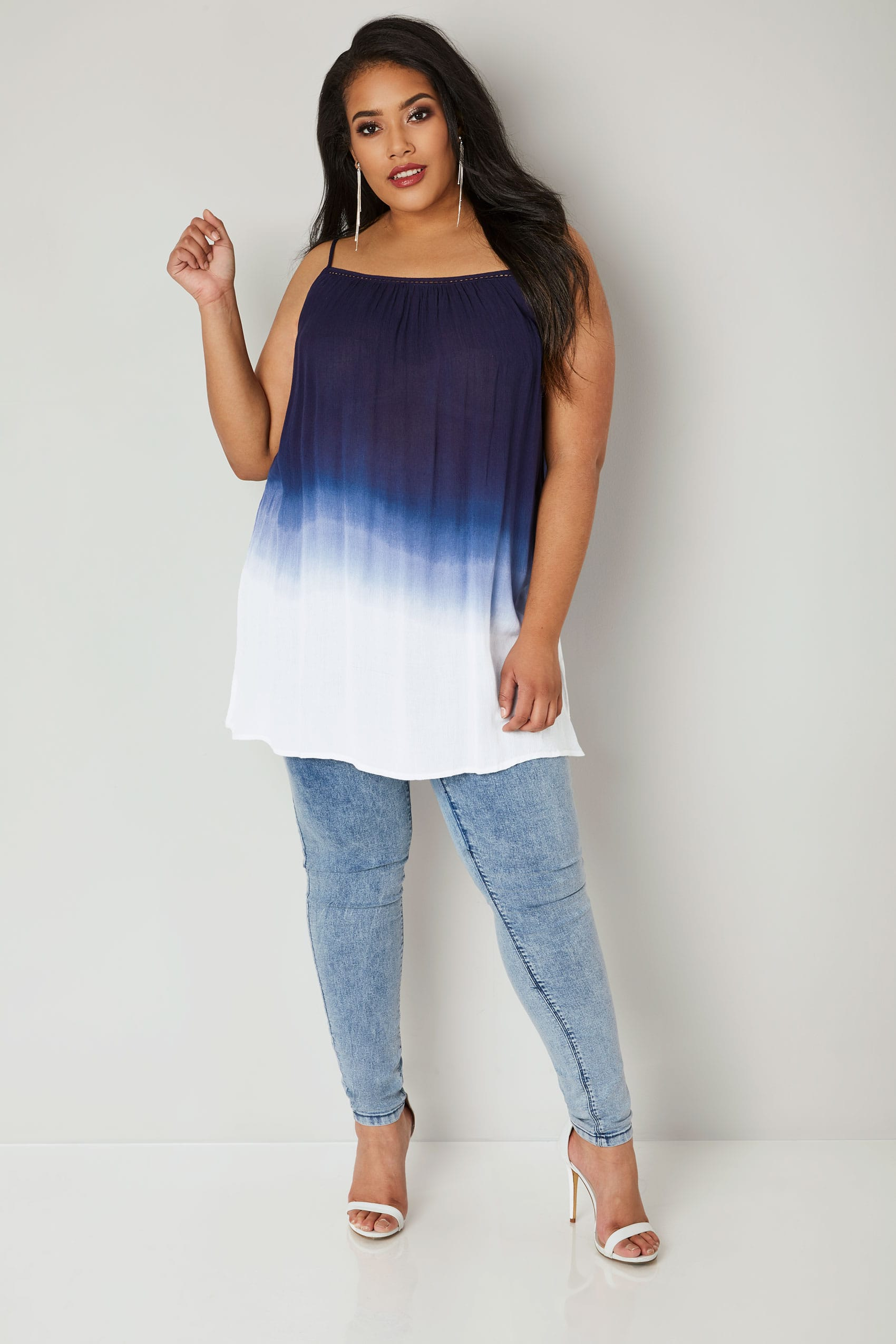 Navy Ombre Longline Swing Top, plus size 16 to 36