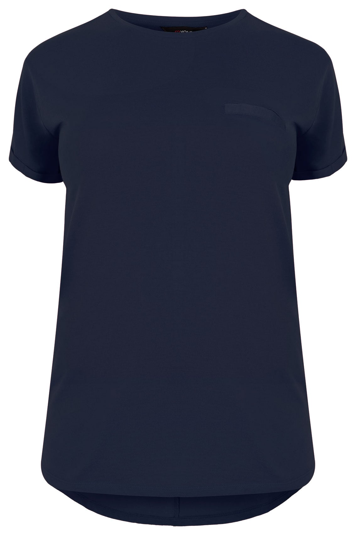 Navy Pocket T Shirt With Curved Hem Plus Size 16 To 36