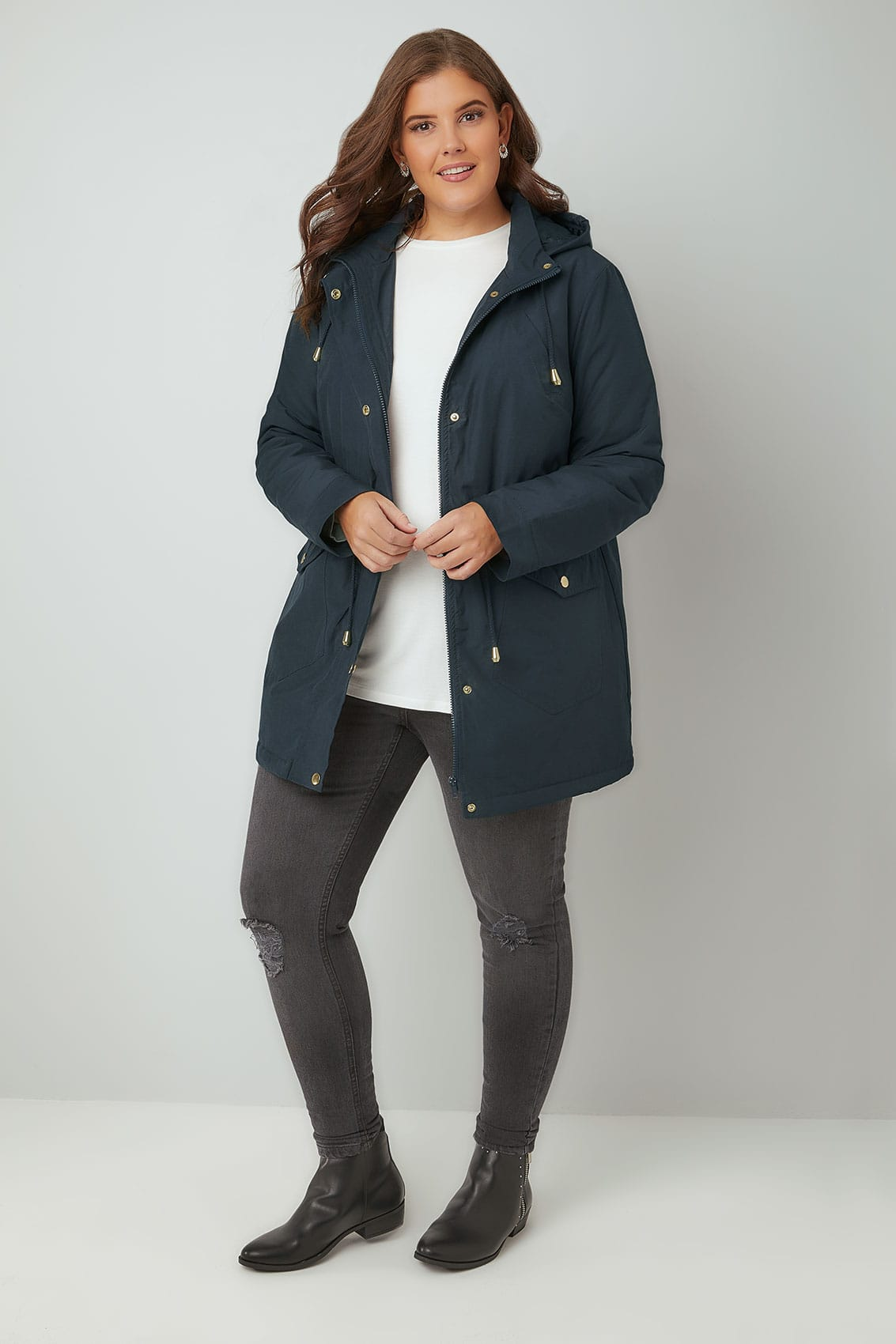 Navy Shower Proof Hooded Parka Coat, Plus size 16 to 36