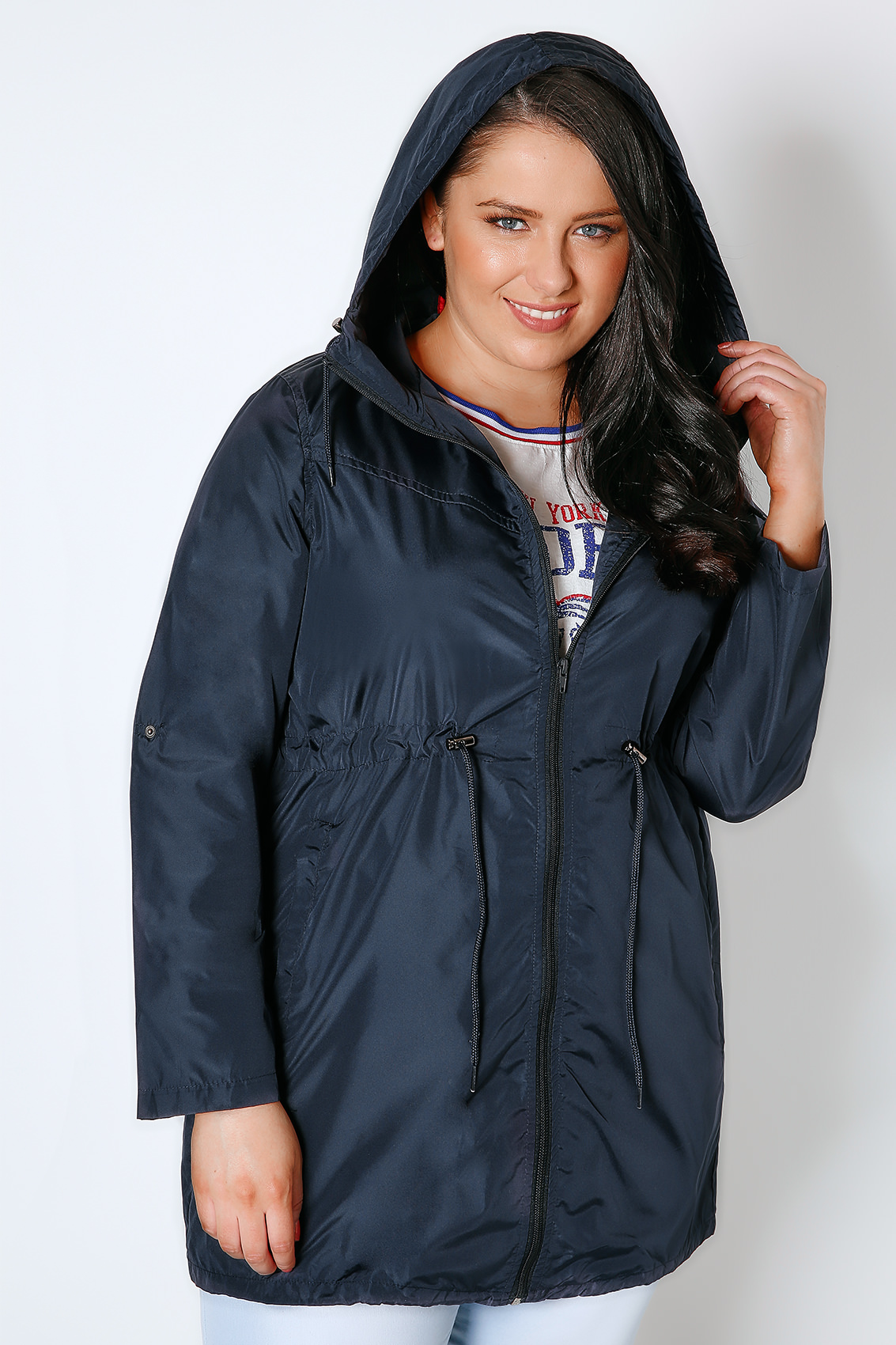 navy shower resistant pocket parka jacket with hood plus size 16 to 36