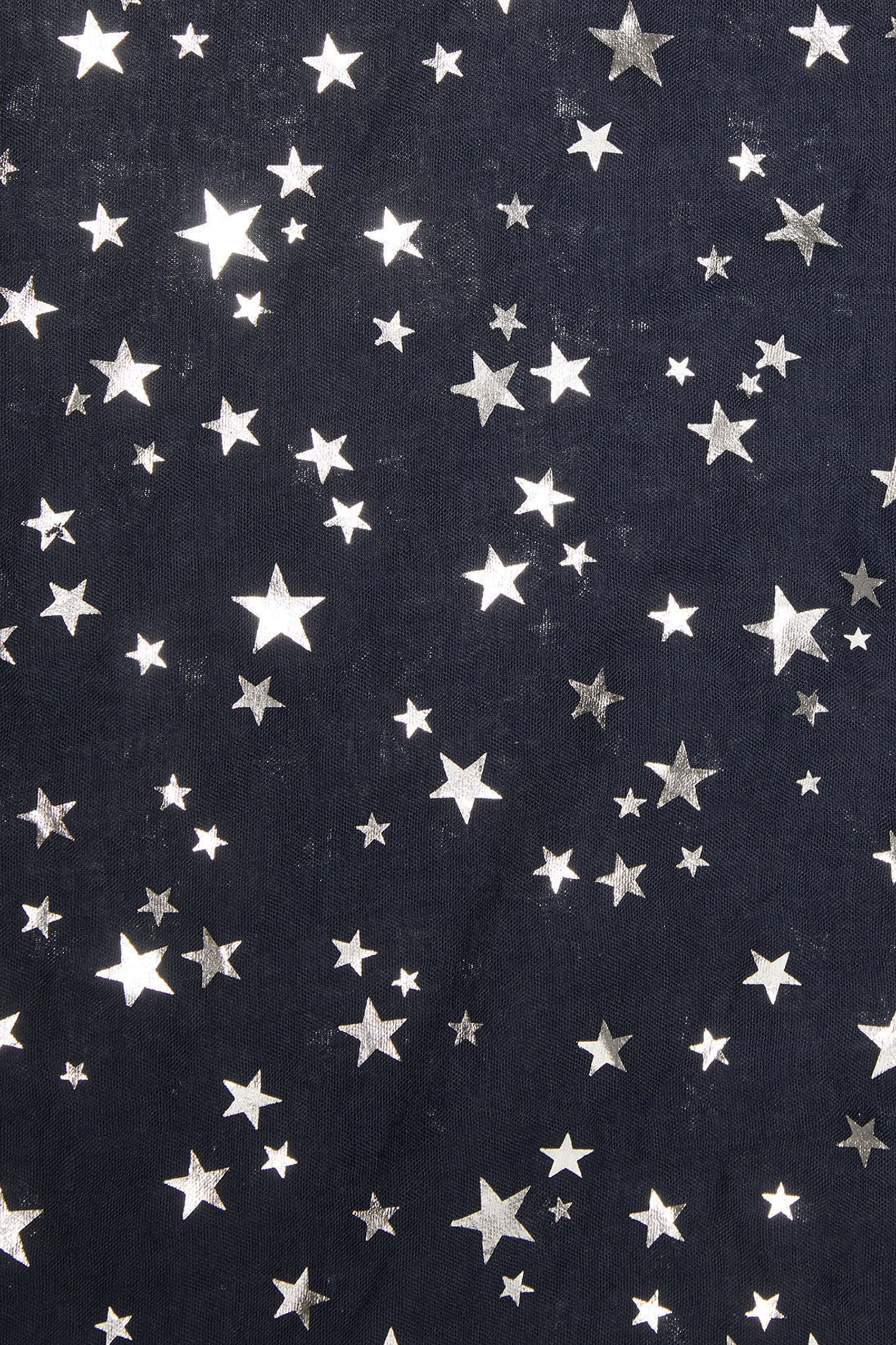 Navy silver foil star print scarf for Buy here pay later