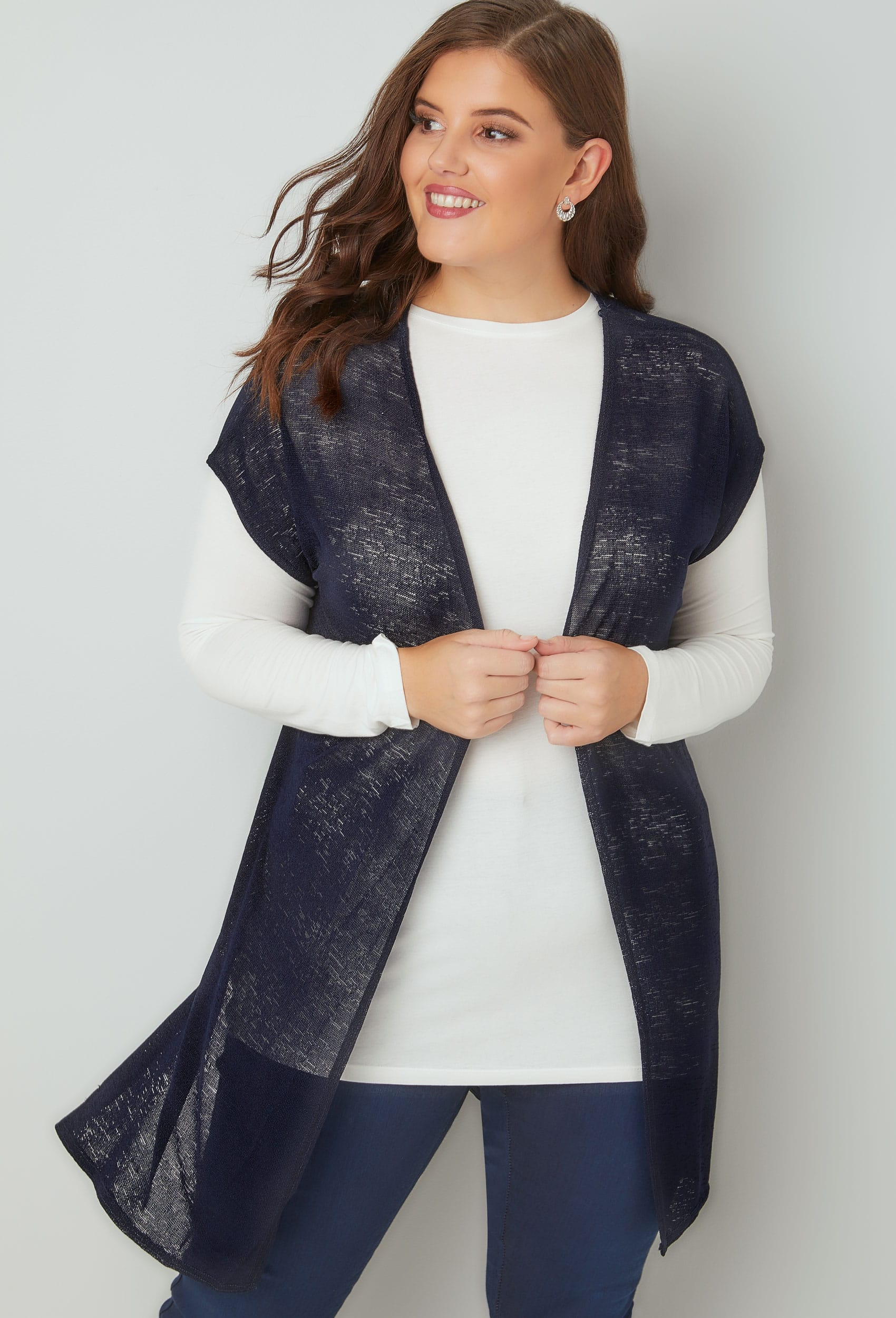 Navy Textured Cardigan With Grown-On Short Sleeves, Plus size 16 to 36