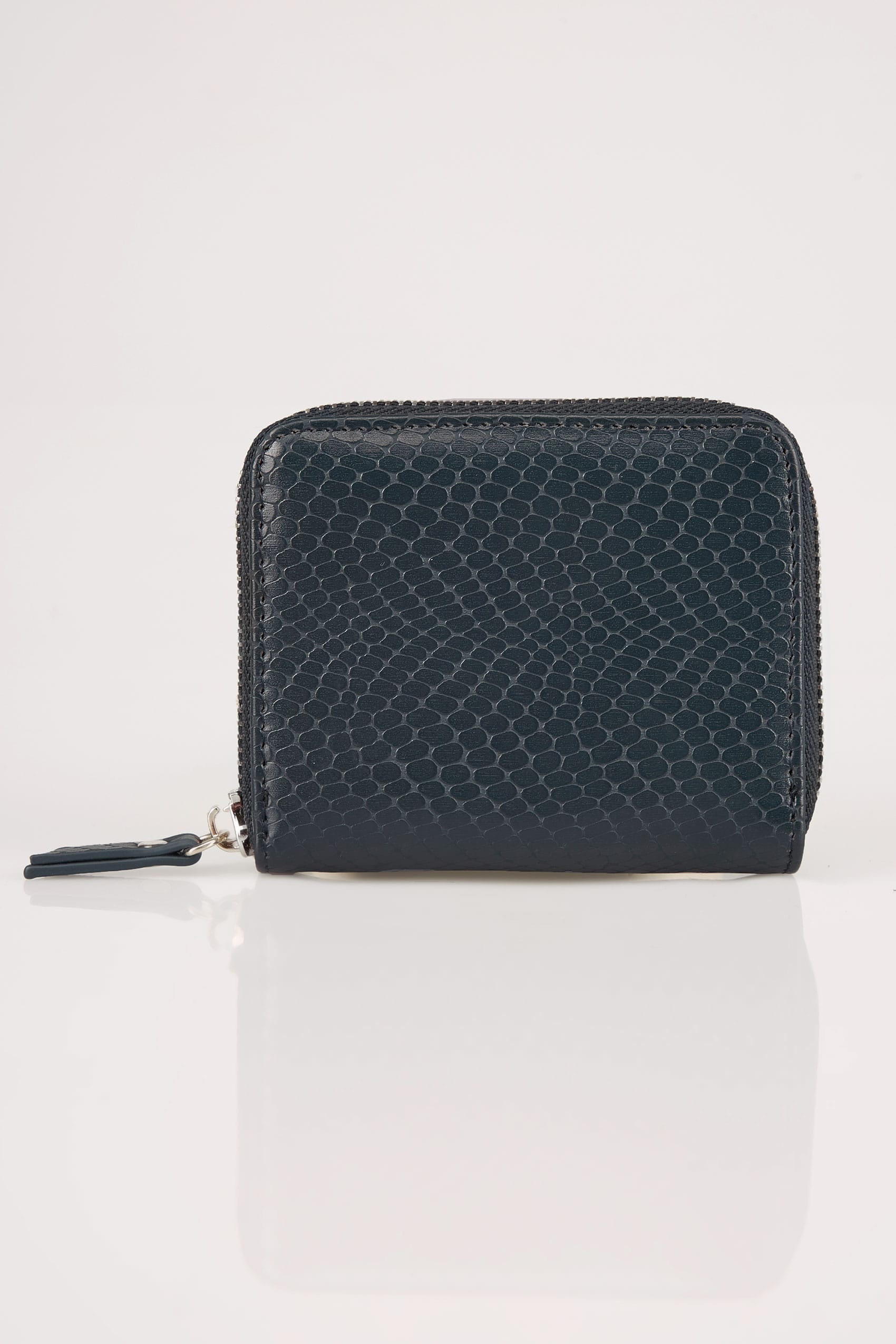 Navy textured snakeskin effect small zip around purse for Buy here pay later