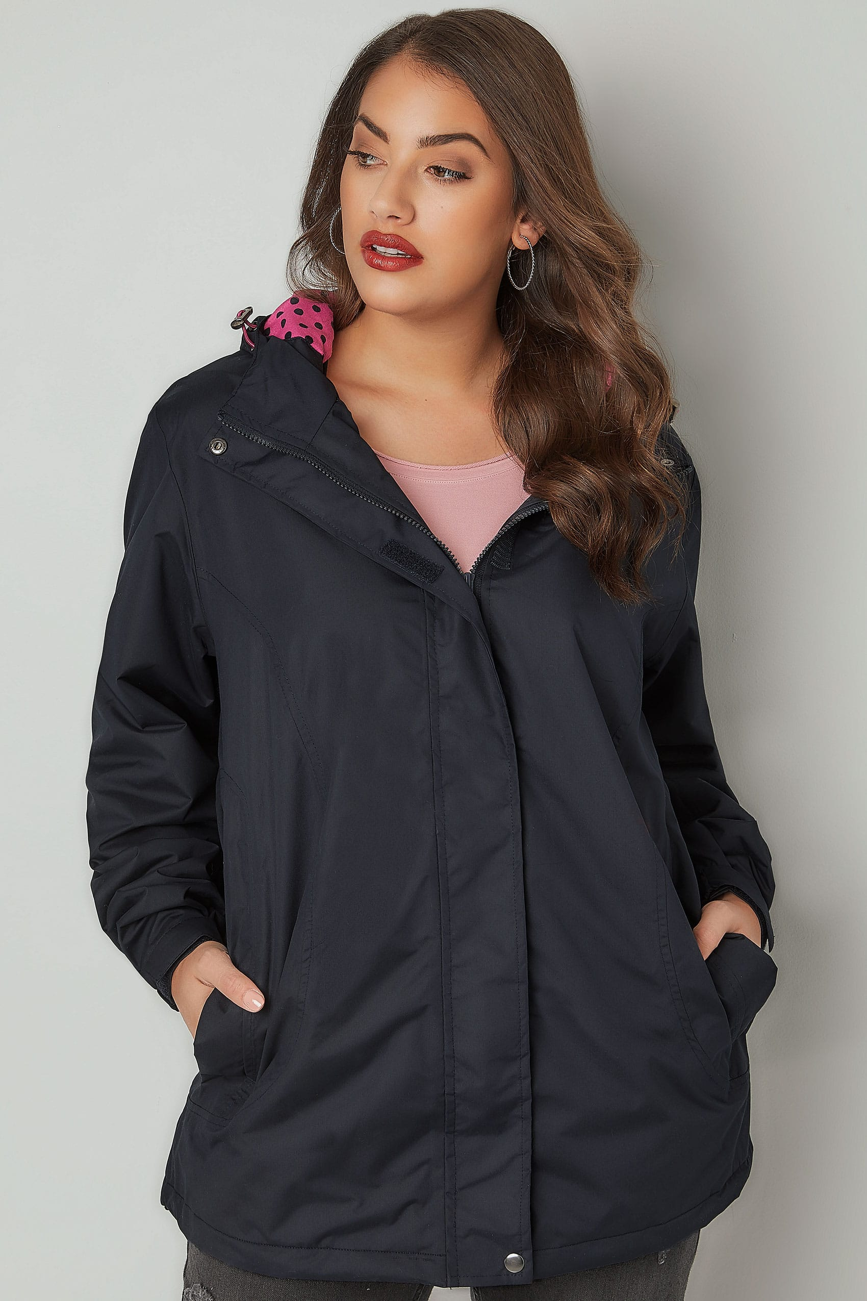 navy waterproof jacket with polka dot hood plus size 16 to 36. Black Bedroom Furniture Sets. Home Design Ideas