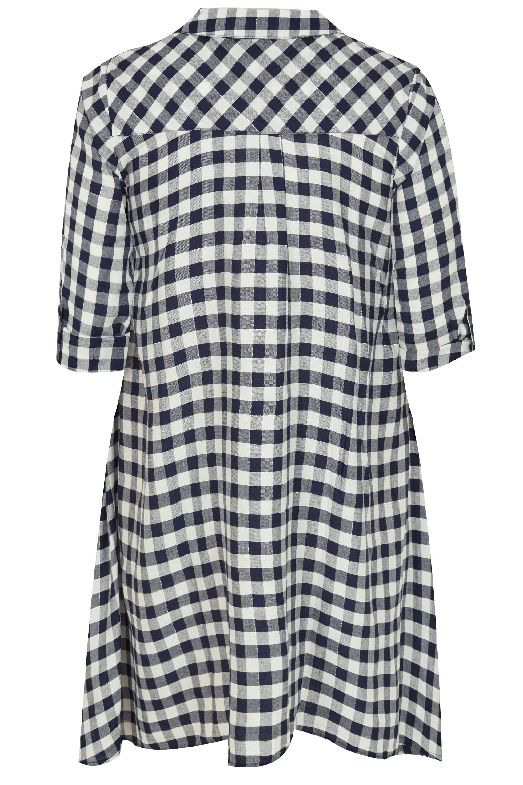navy white asymmetric checked shirt with metallic thread plus size 16 to 36. Black Bedroom Furniture Sets. Home Design Ideas