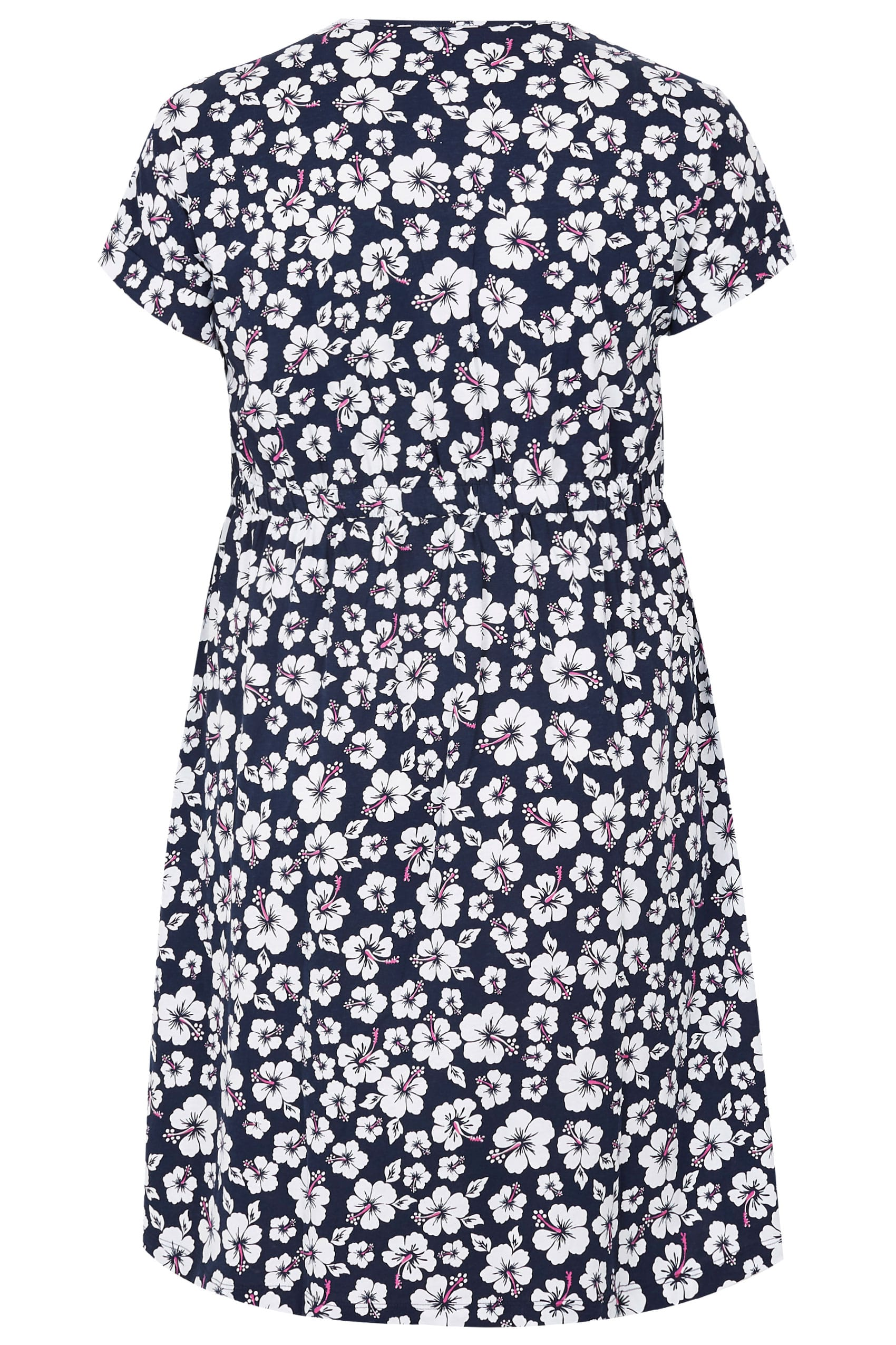 ba5160594dc Navy   White Floral Print T-Shirt Dress With Pockets   Elasticated Waistband