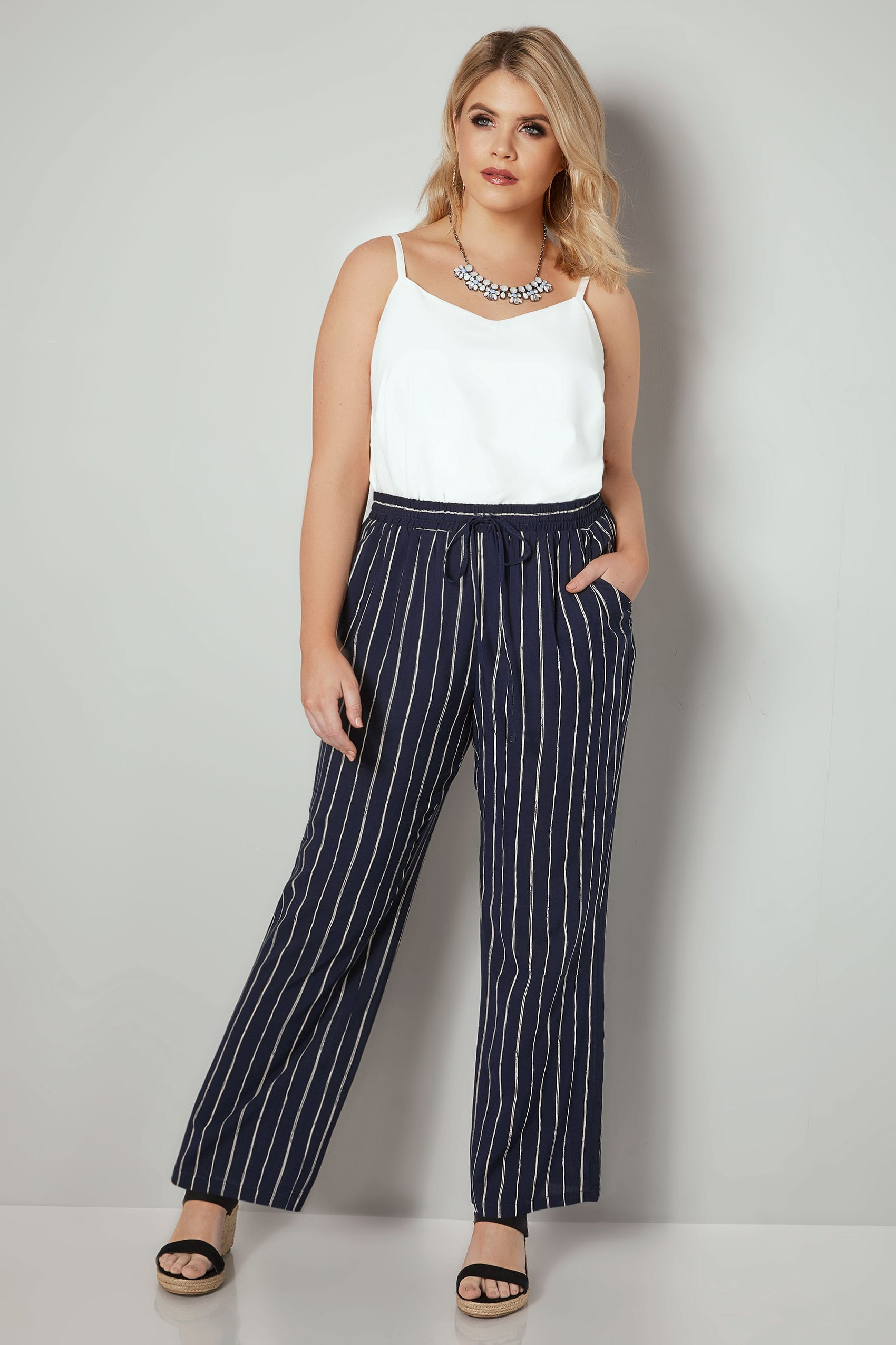 Navy White Pinstripe Trousers Plus Size 16 To 36 Tendencies Chinos Short 32