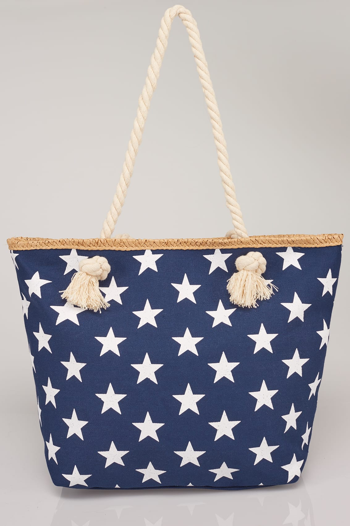 Navy  White Star Print Beach Bag With Rope Handles-7924